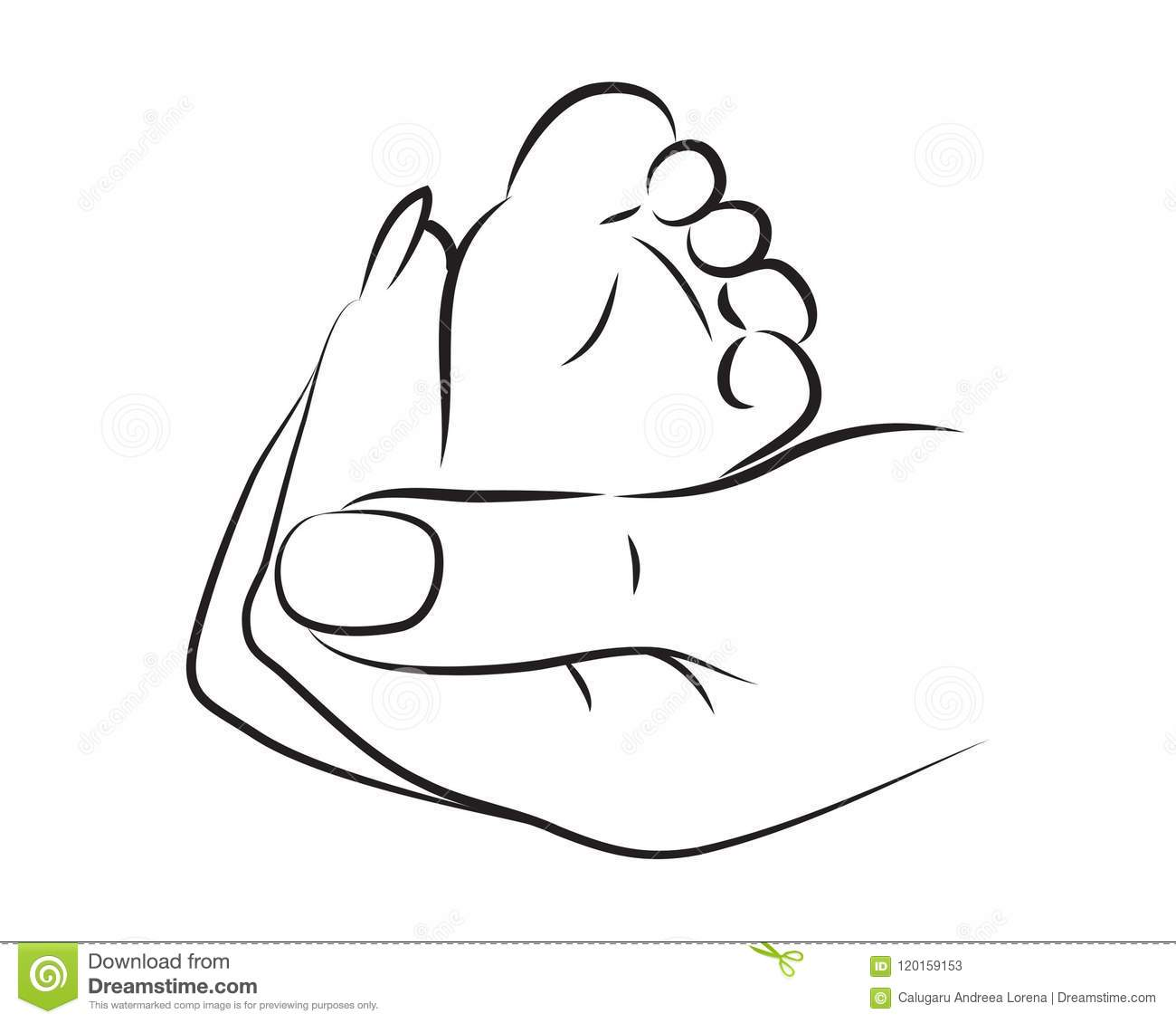 Woman Hand Holding A Baby Foot Stock Vector