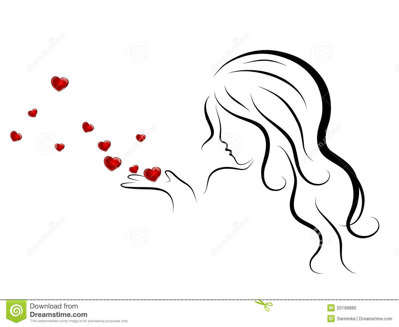 Woman And Hearts Stock Photo