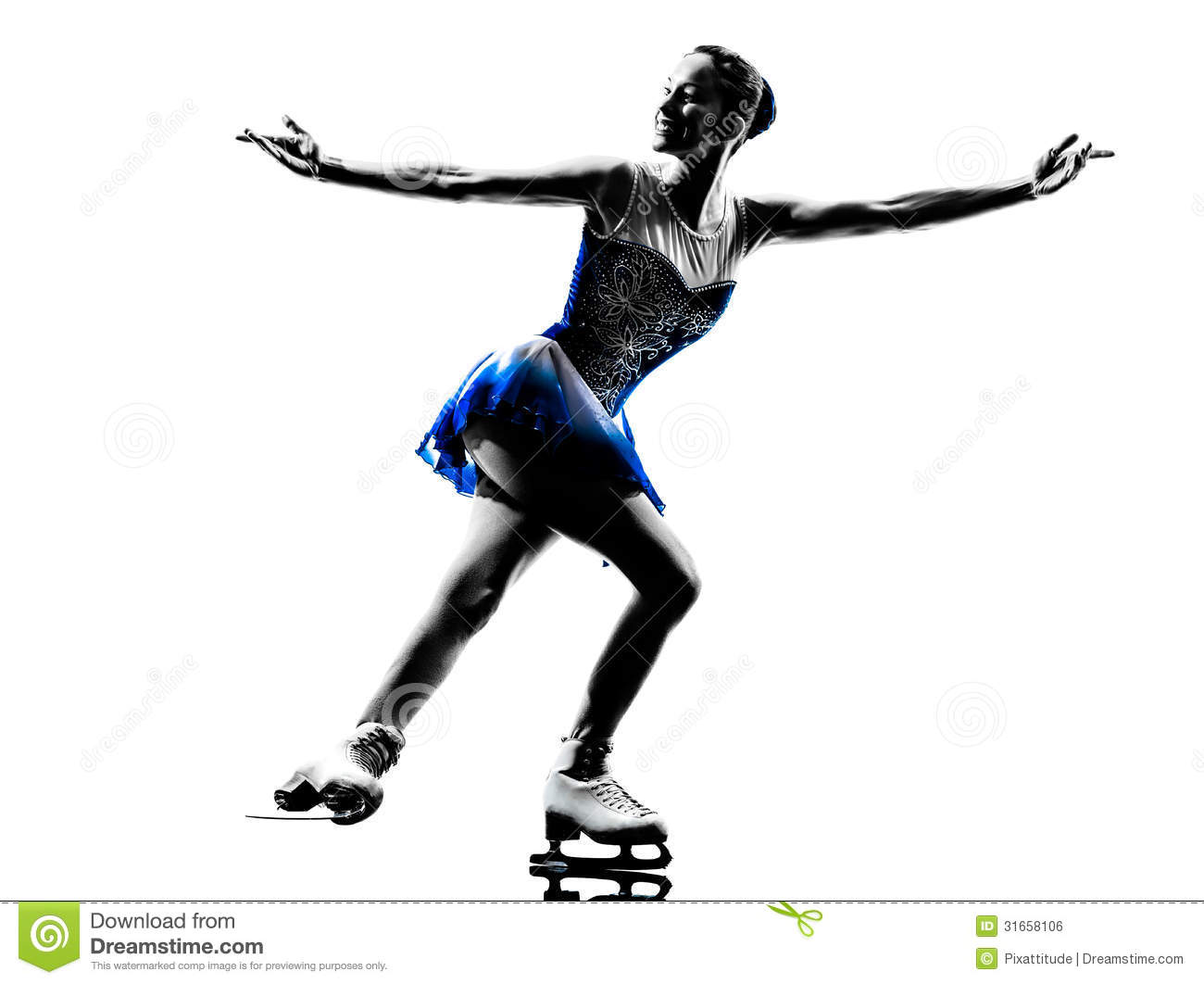 Woman Ice Skater Skating Silhouette Royalty Free Stock