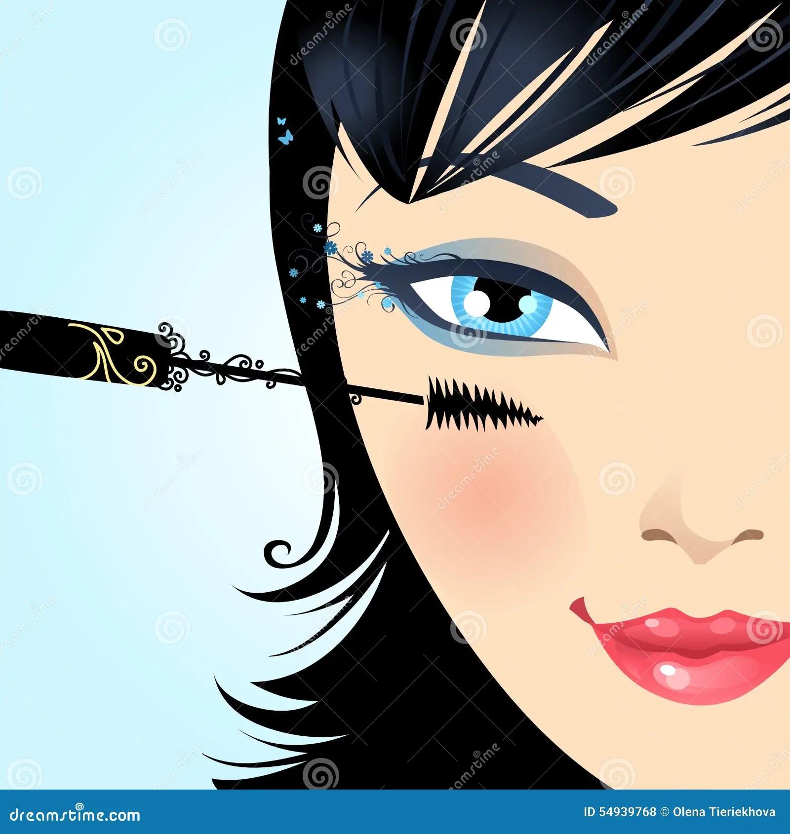Cartoon Female Batting Lashes