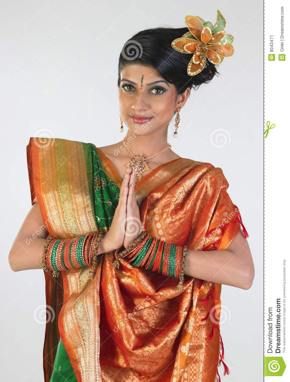 Woman In Sari With Welcome Posture Stock Image Image