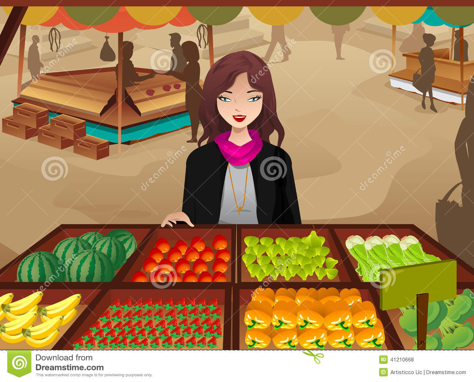 Woman Shopping At A Farmers Market Stock Vector
