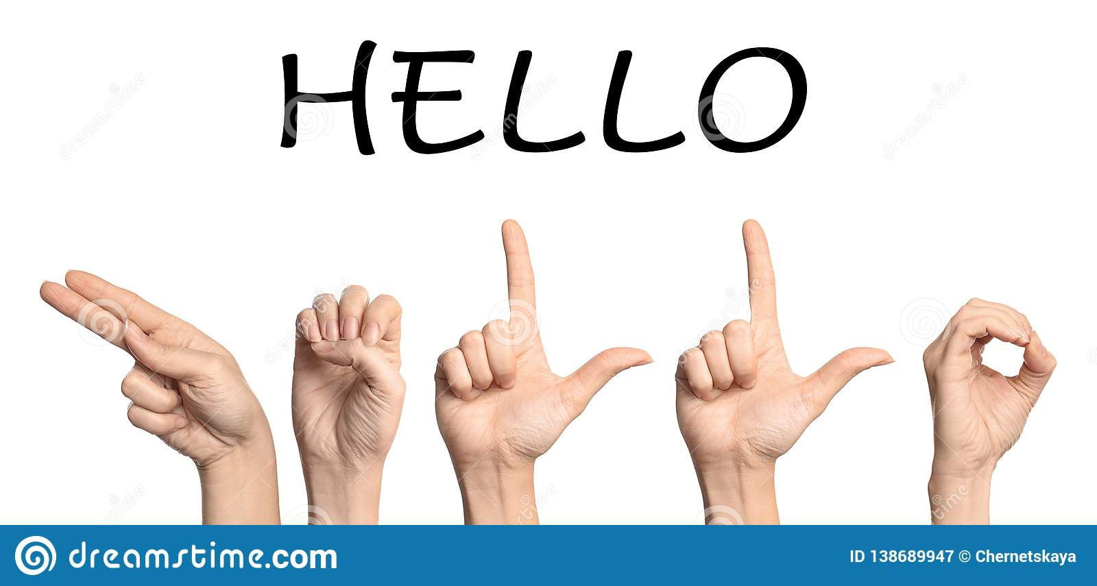 Woman Showing Word Hello On White Background Stock Image