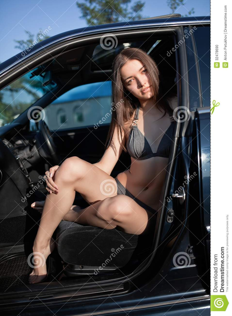 Woman In Swim Suit In Car Stock Photo Image Of Caucasian