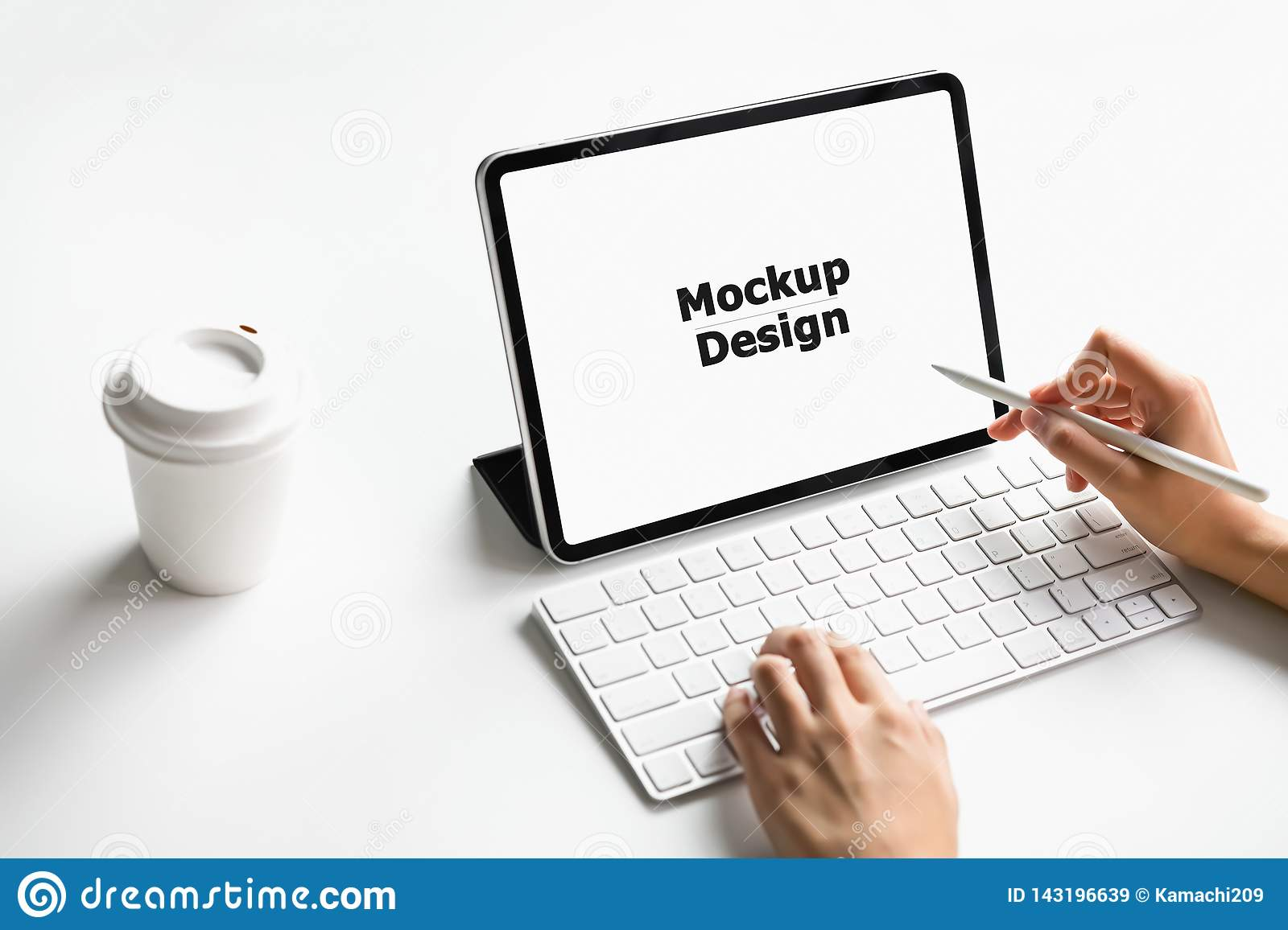 Woman Typing Keyboard Laptop And Tablet Screen Blank On
