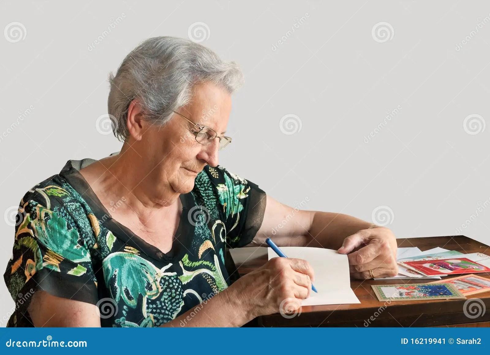 Woman Writing Christmas Cards Stock Image Image 16219941