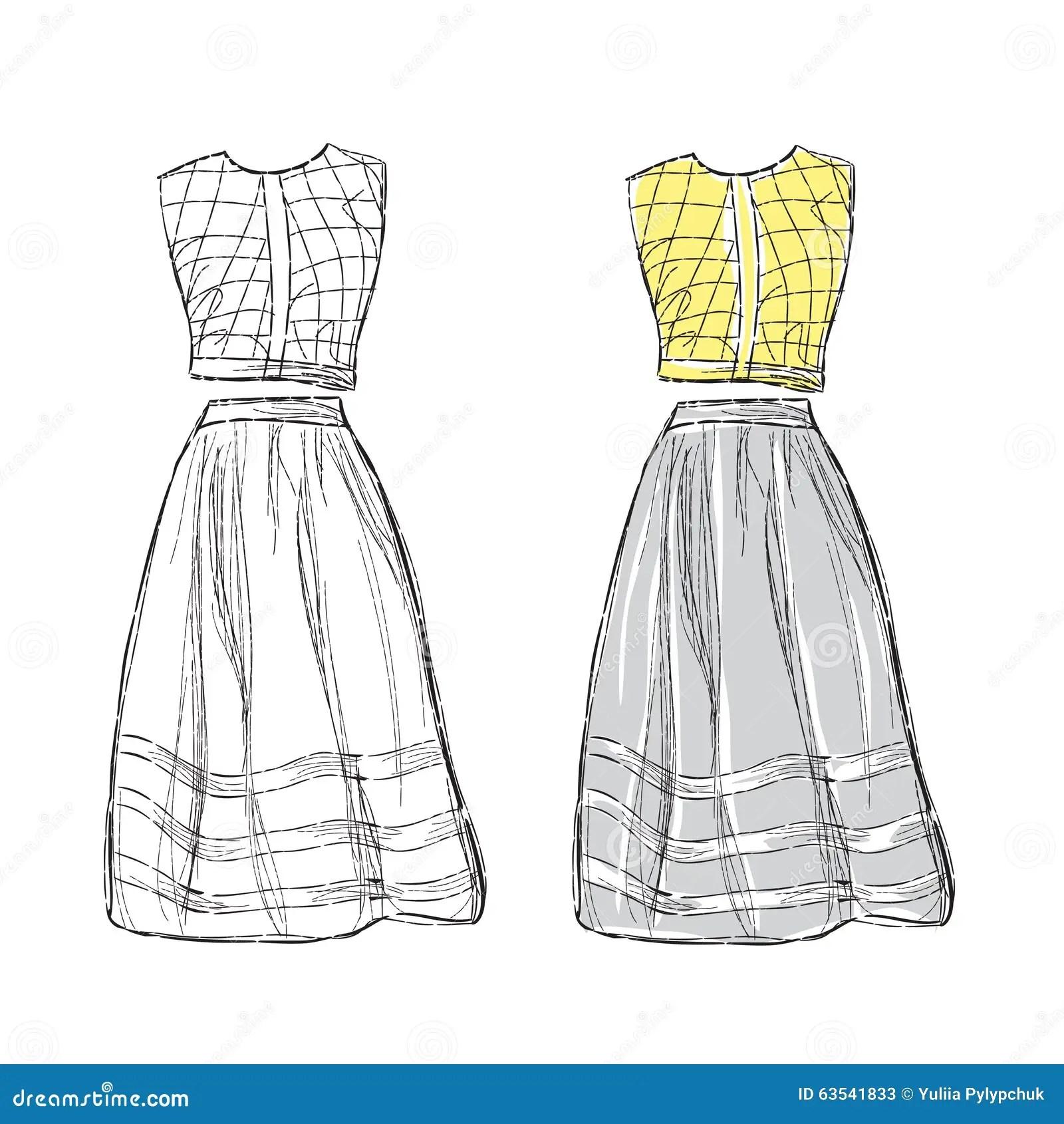 Women Dress Sketch Stock Vector