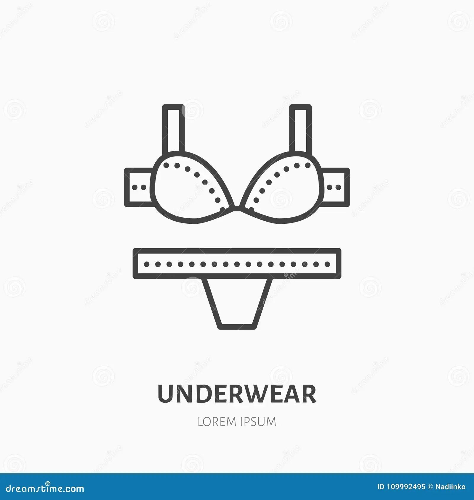 Women Underwear Flat Line Icon Bra And Underpants