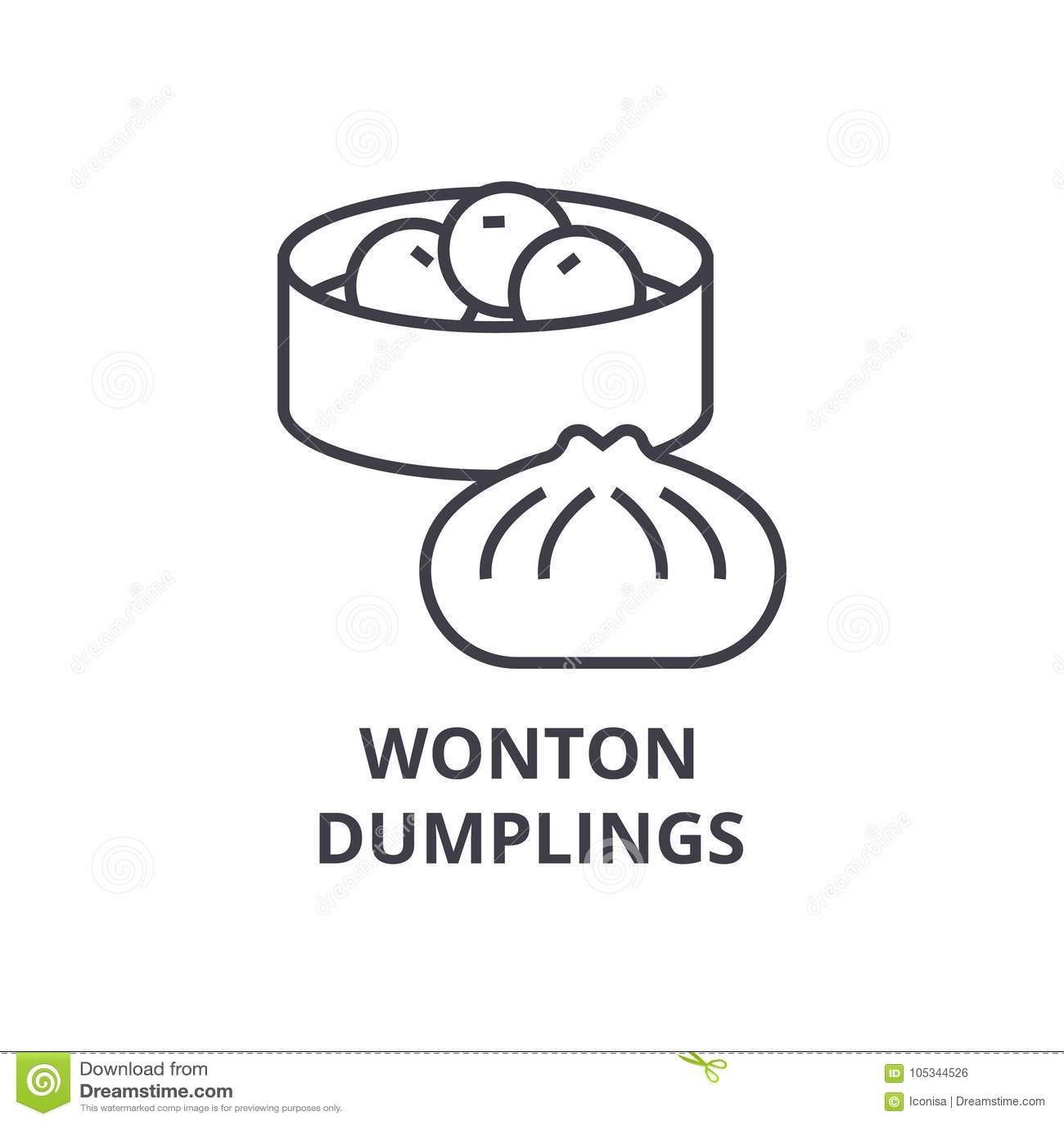 Wonton Dumplings Line Icon Outline Sign Linear Symbol