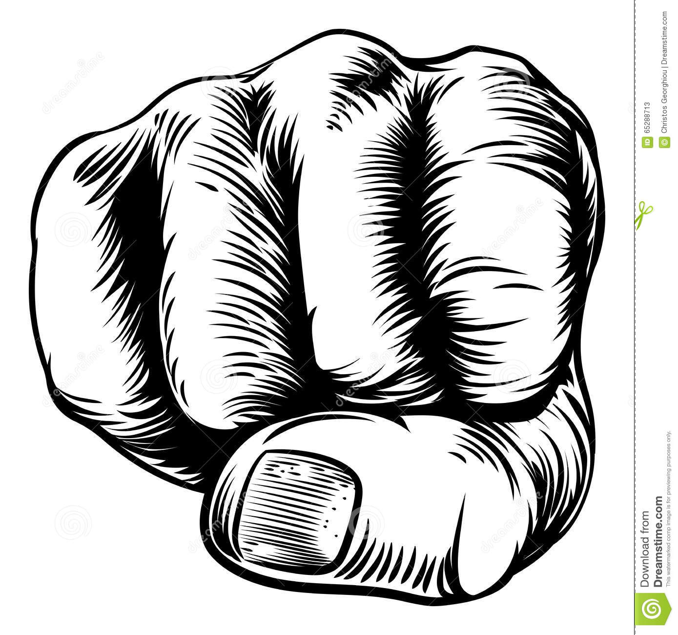 Woodcut Etching Fist Hand Stock Vector Illustration Of