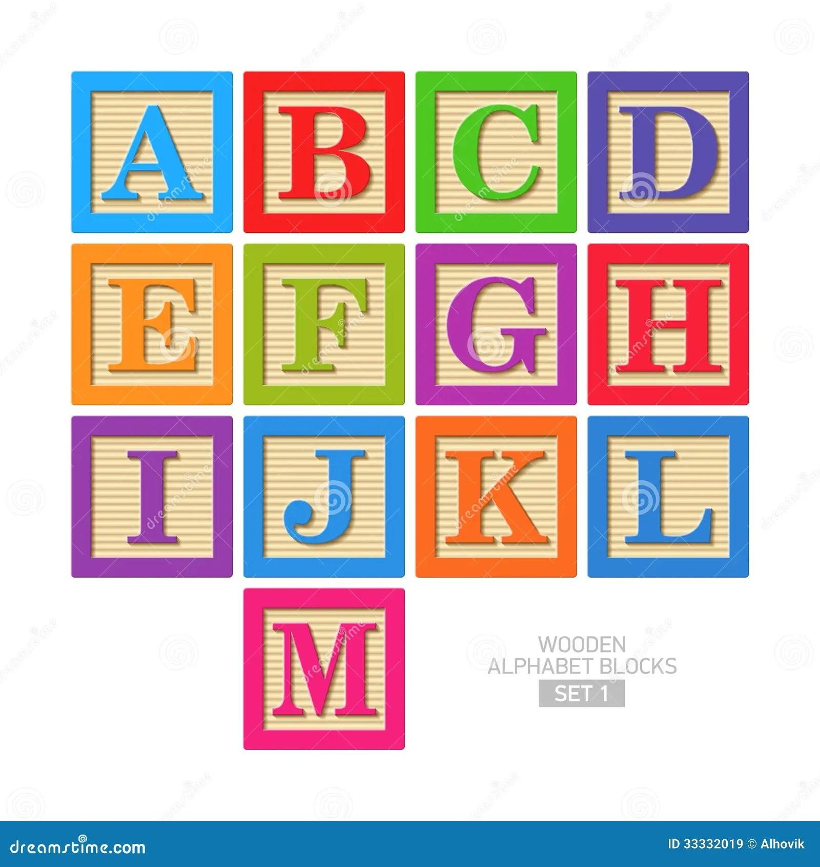 Wooden Alphabet Blocks Stock Vector Illustration Of