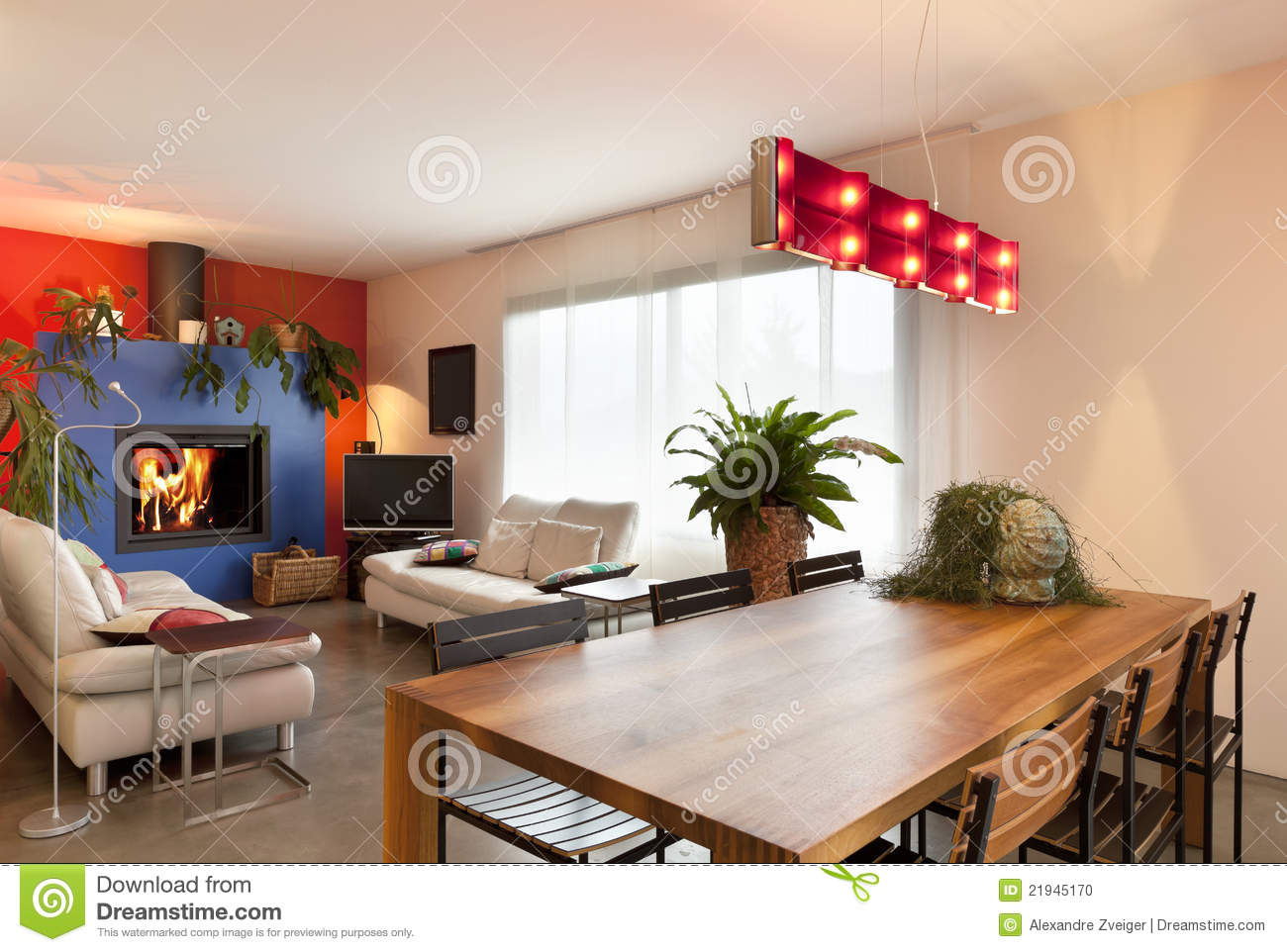 Wooden Dining Table Living Room Background Stock Photo