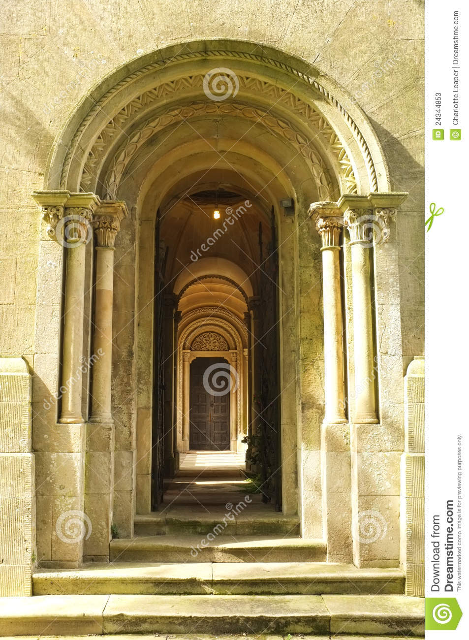 Wooden Door Way Through Stone Arches Stock Image Image