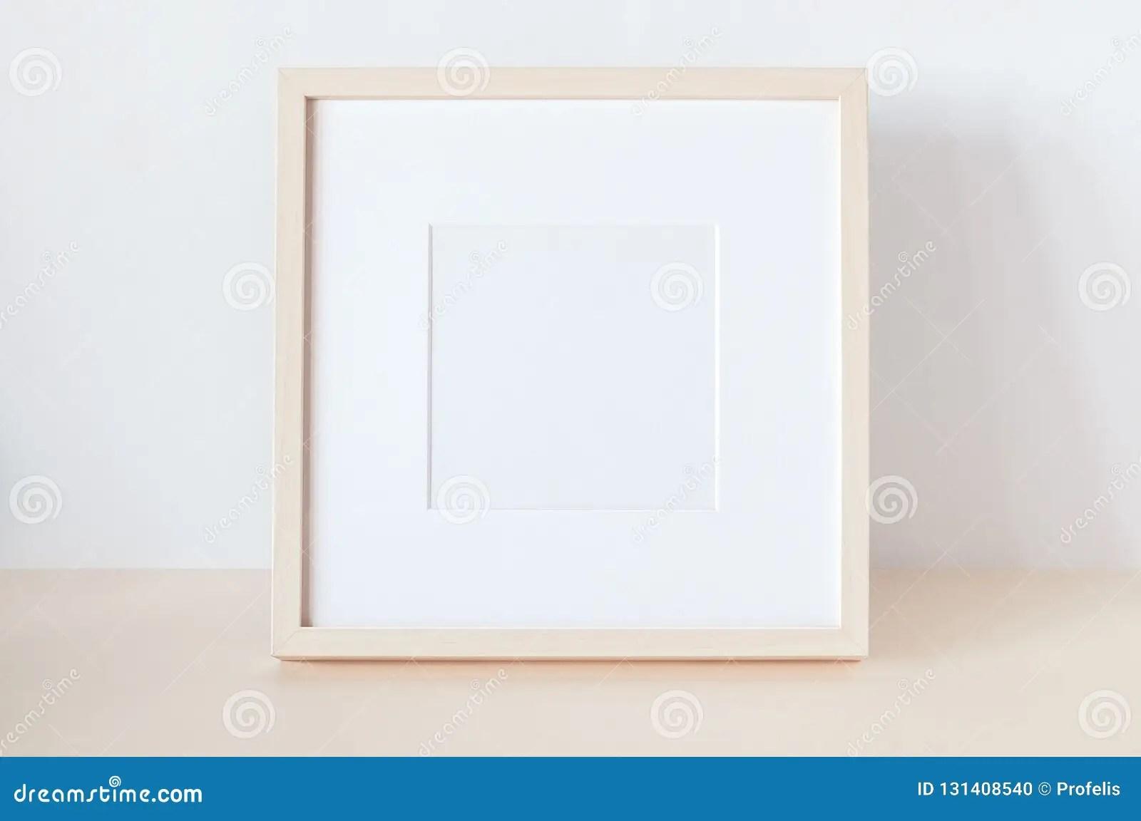 https www dreamstime com wooden square frame poster mockup image131408540