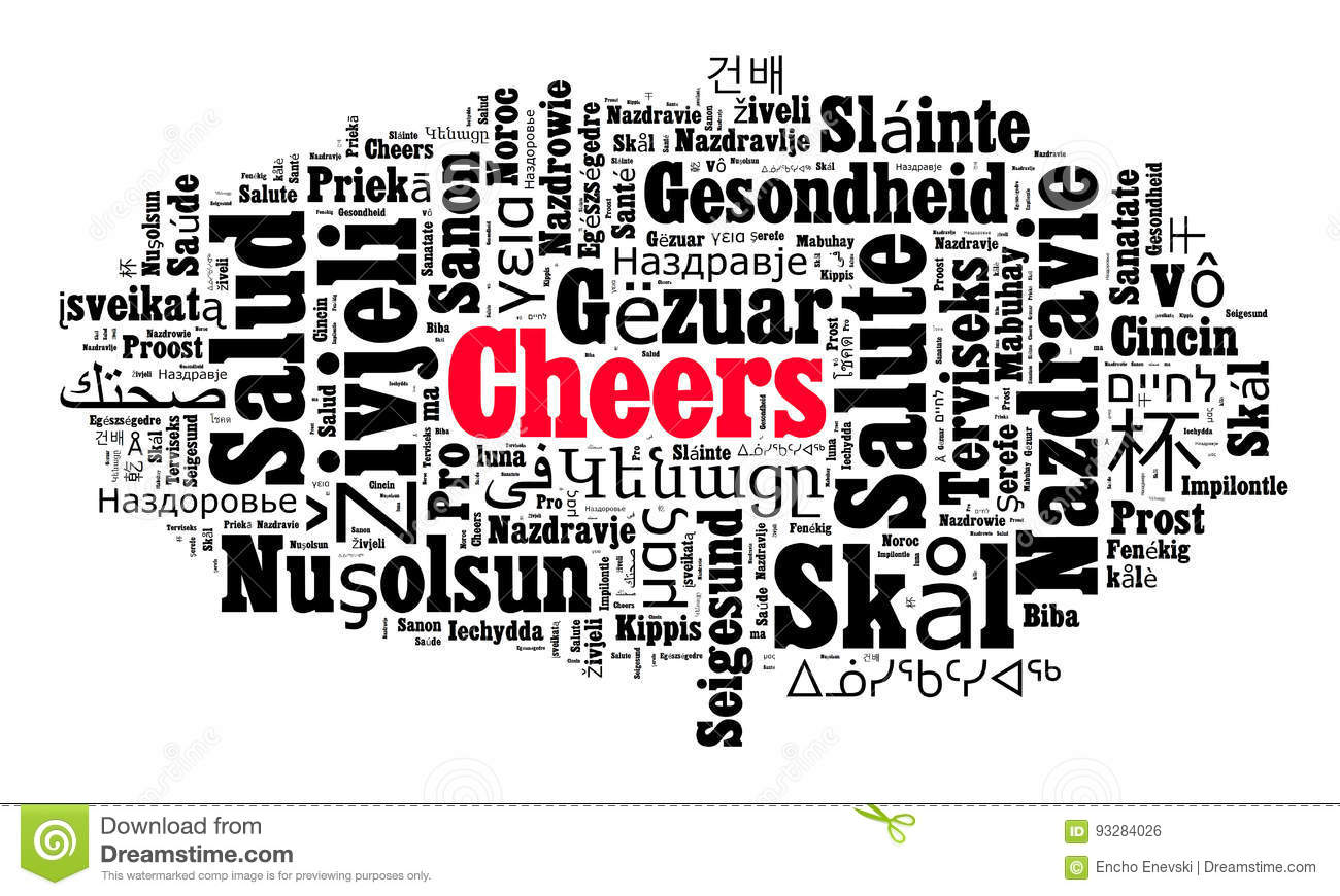Word Cheers In Different Languages Stock Illustration