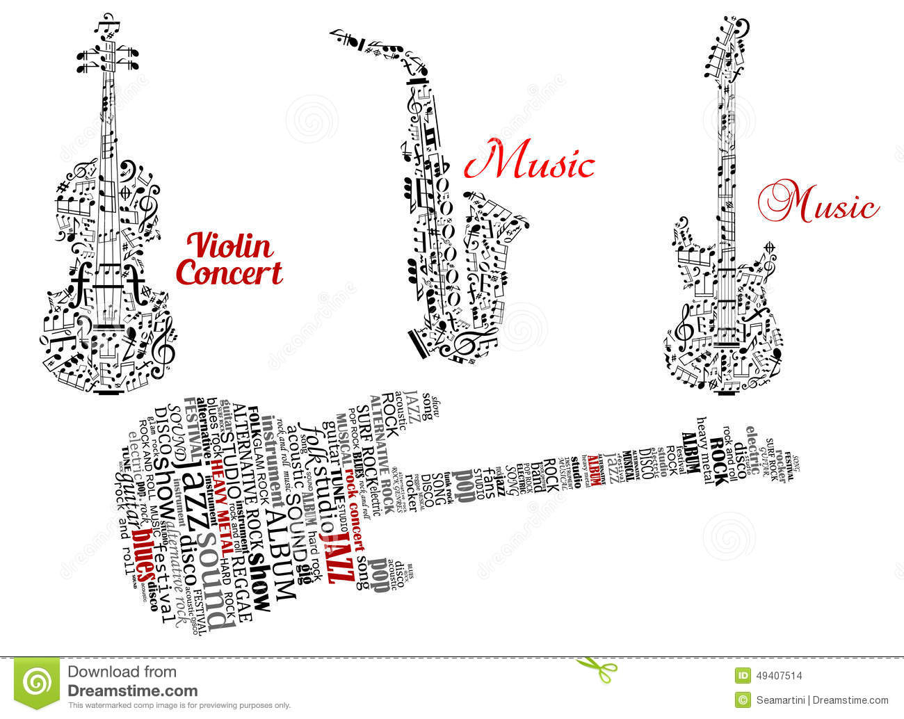 Word Clouds And Notes In Shape Of Guitars Violin Stock