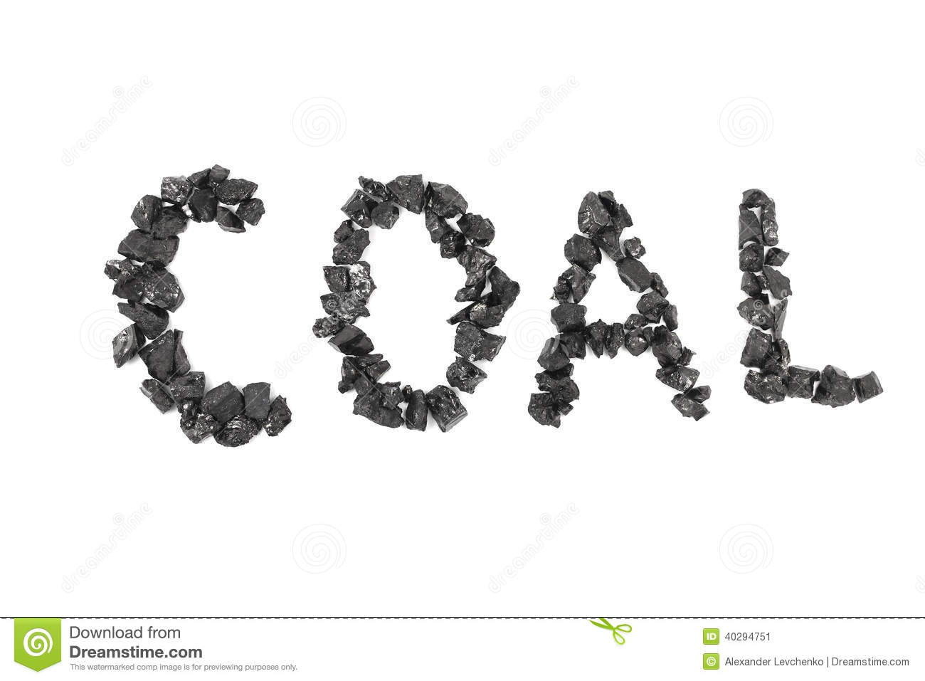 Word Of The Coal Pieces Laid Out Stock Image