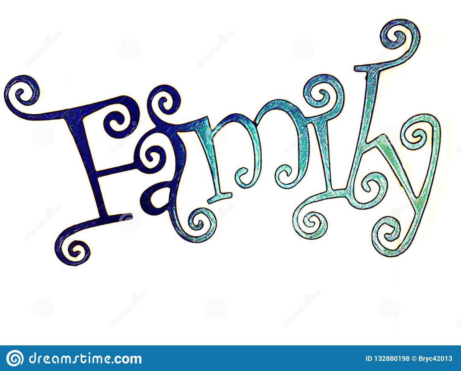 The Word Family In Styled Letters Stock Illustration