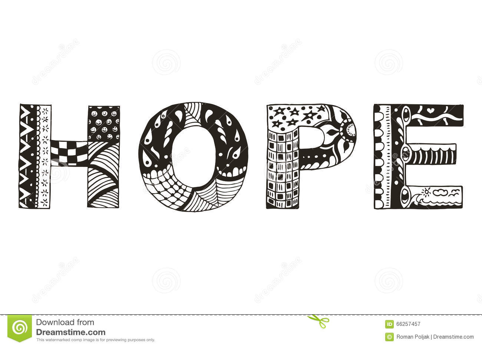 Word Hope Zentangle Stylized Vector Illustration