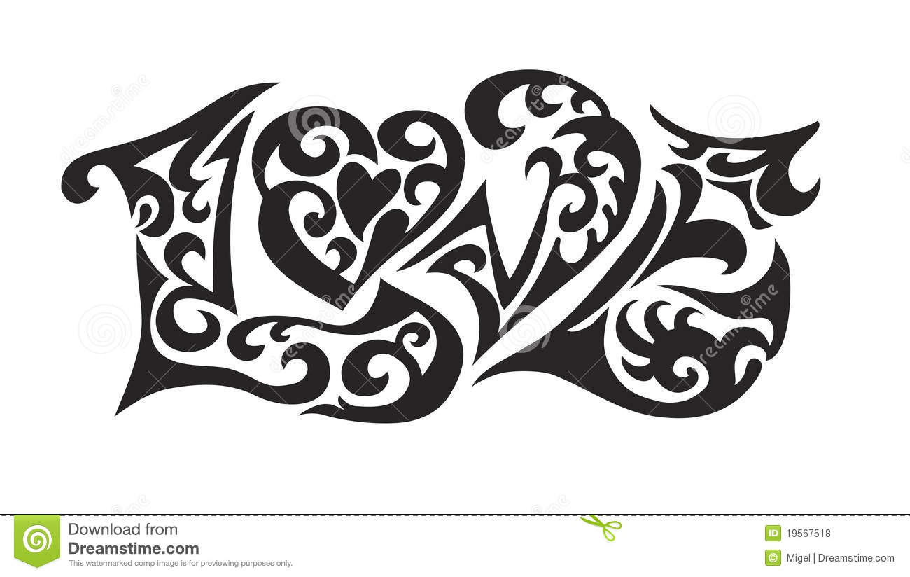 Word Logo Love Tatoo Royalty Free Stock Photos