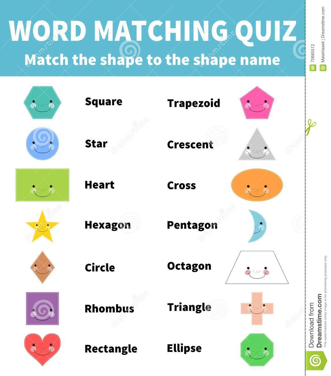 Word Matching Quiz Match The 2d Shape For Children Education Stock Vector