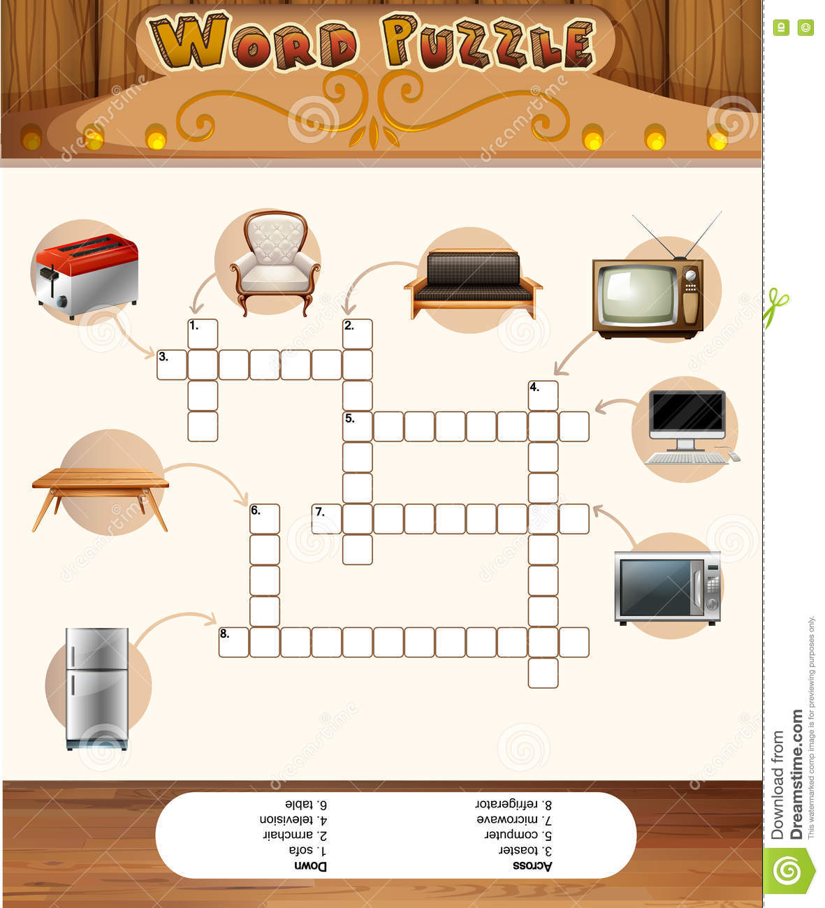 Word Puzzle Game With Objects In The House Cartoon Vector