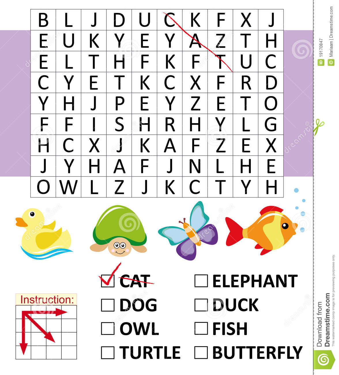 Word Search Game With Animals Stock Illustration