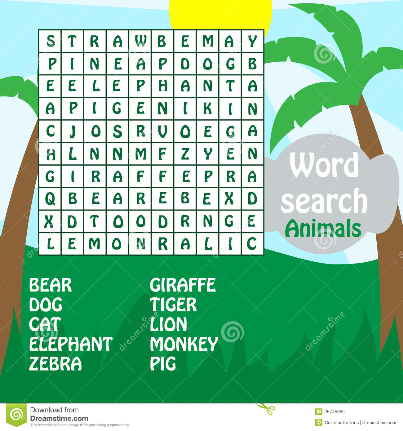 Word Search Game Animals Stock Vector Image Of Write