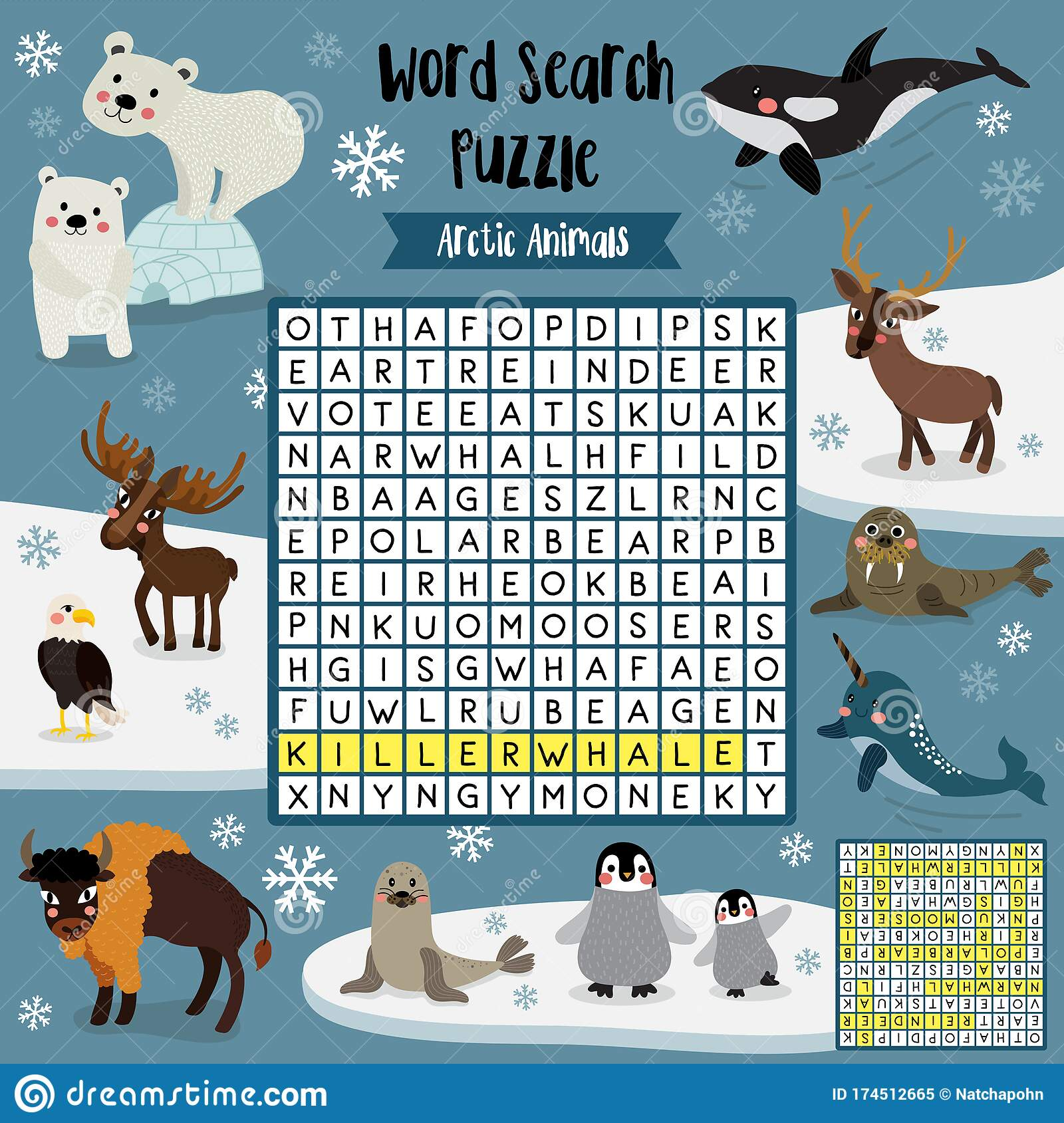 Word Search Puzzle Arctic Animals Stock Vector