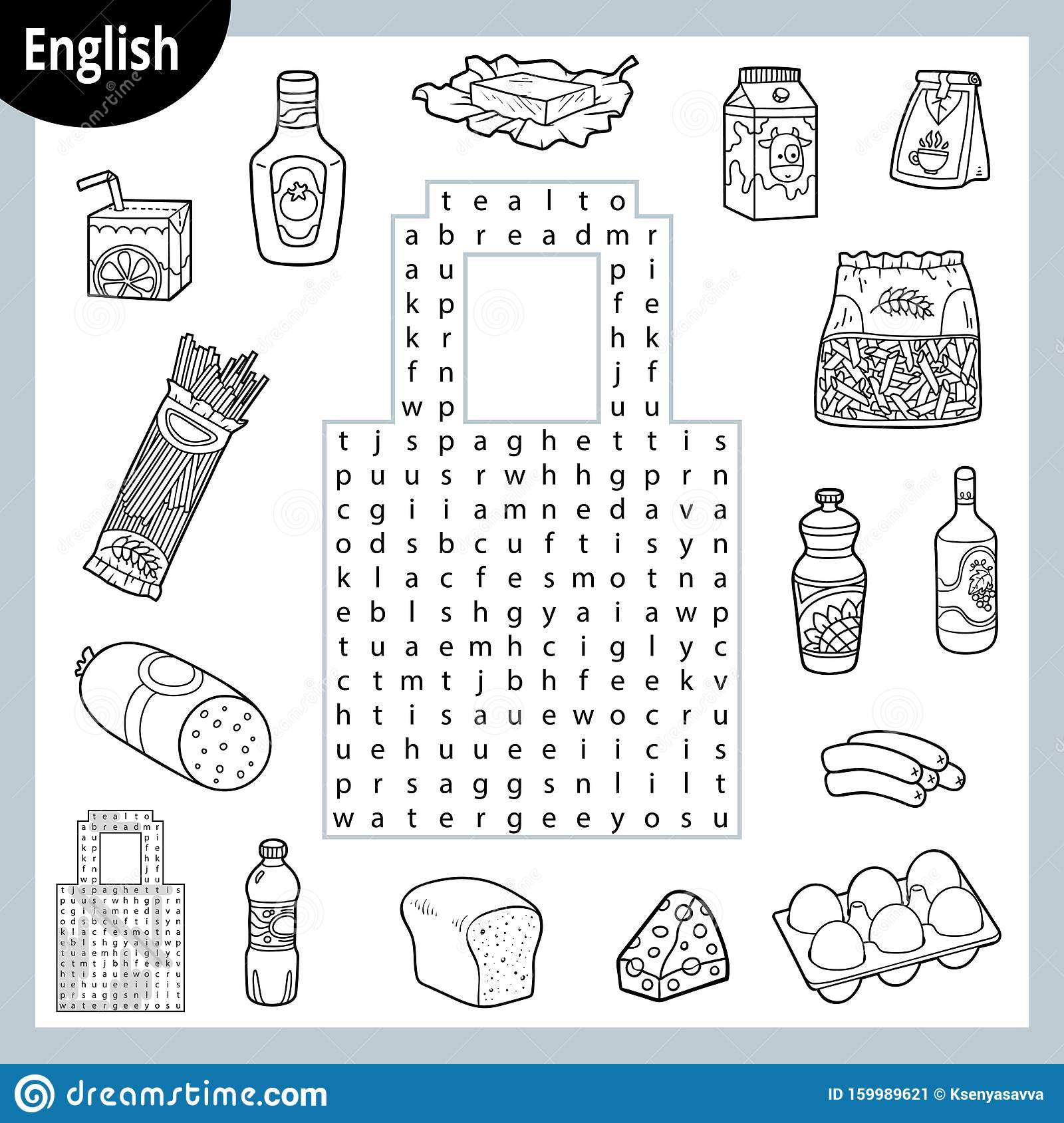 Word Search Puzzle Cartoon Set Of Food Groceries