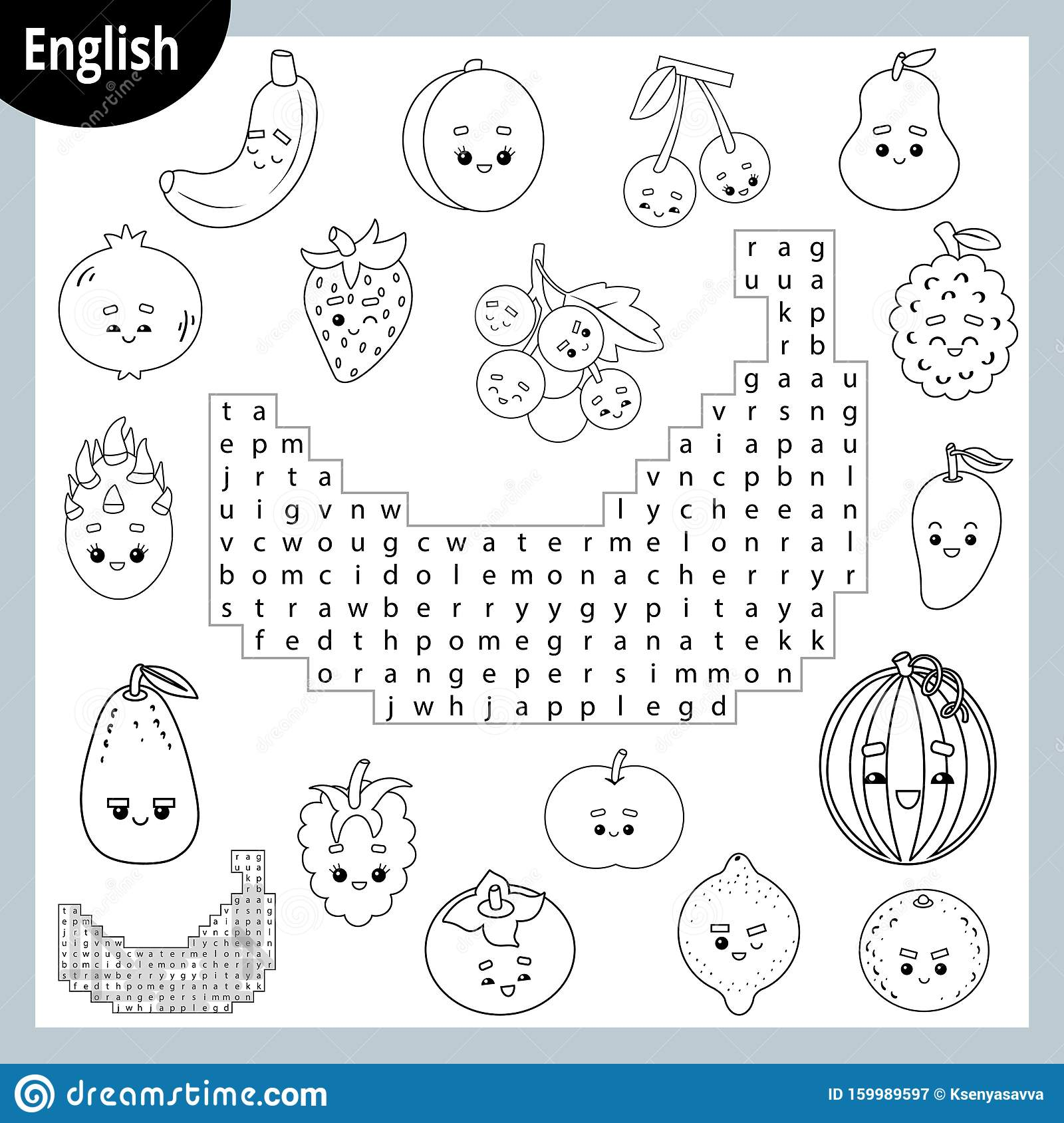 Word Search Puzzle Cartoon Set Of Fruits And Berries