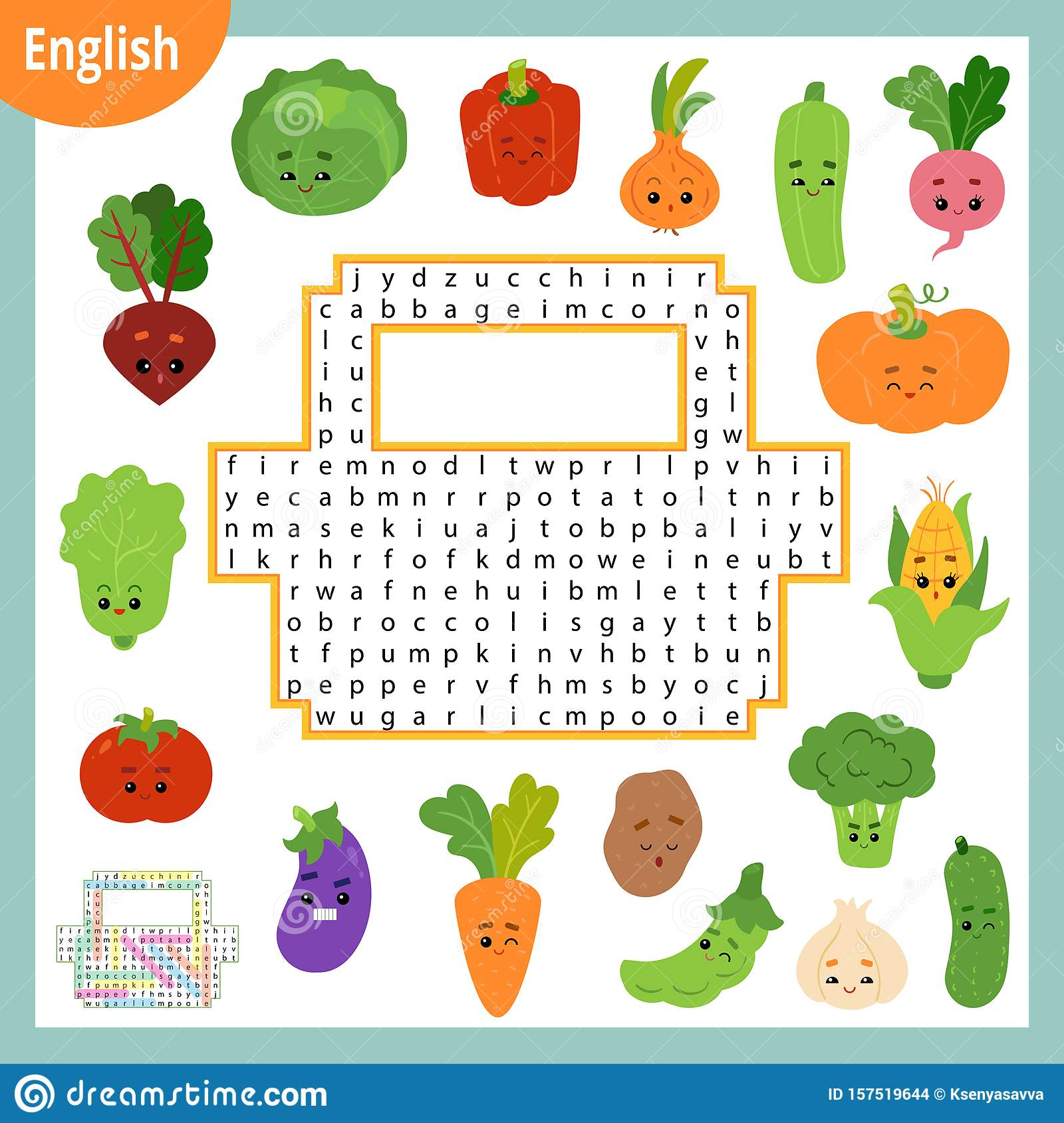 Word Search Puzzle Cartoon Set Of Vegetables Education