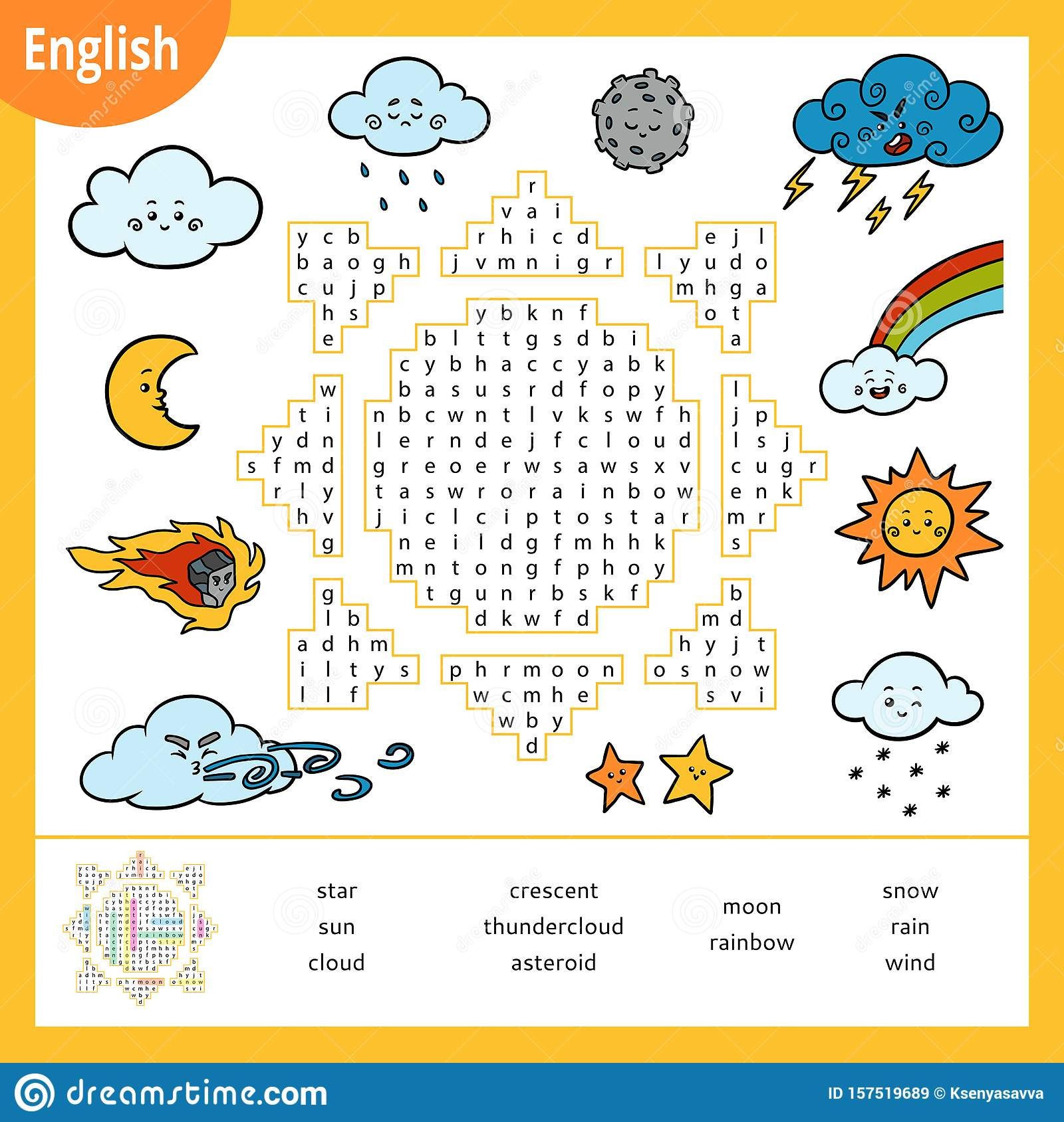 Word Search Puzzle Cartoon Weather Items Education Game