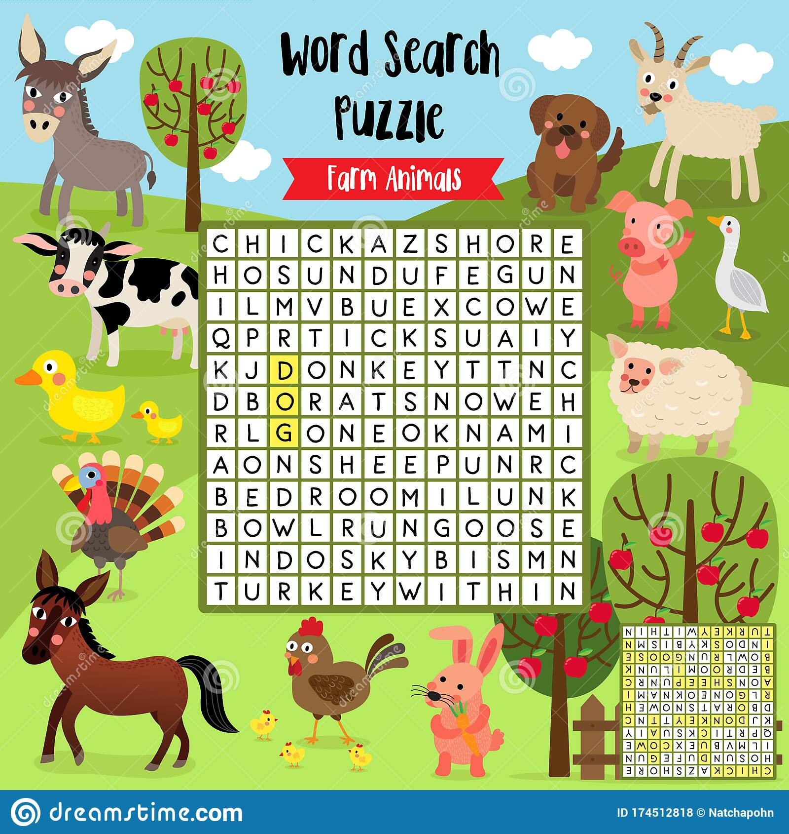 Word Search Puzzle Farm Animals Stock Vector