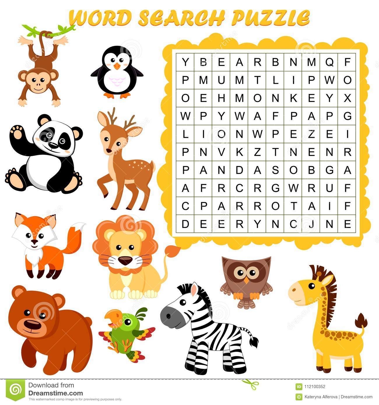 Word Search Puzzle Vector Education Game For Children Animals Stock Vector