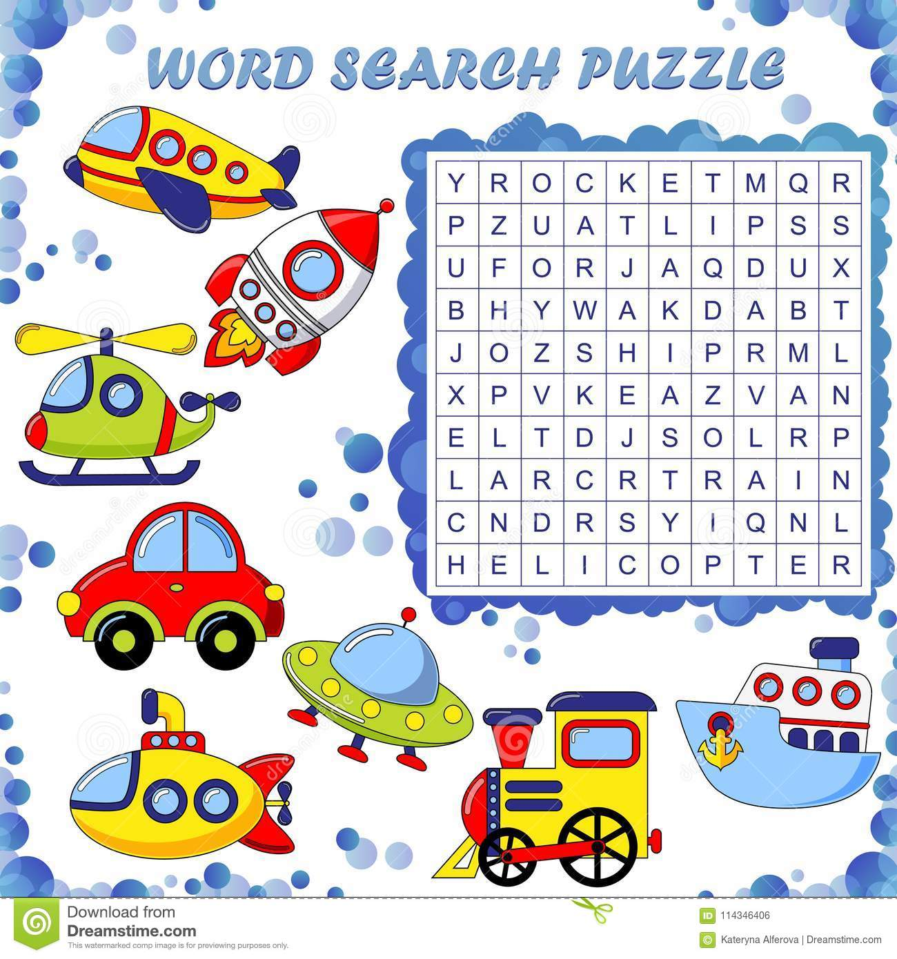 Word Search Puzzle Vector Education Game For Children Transport Stock Vector