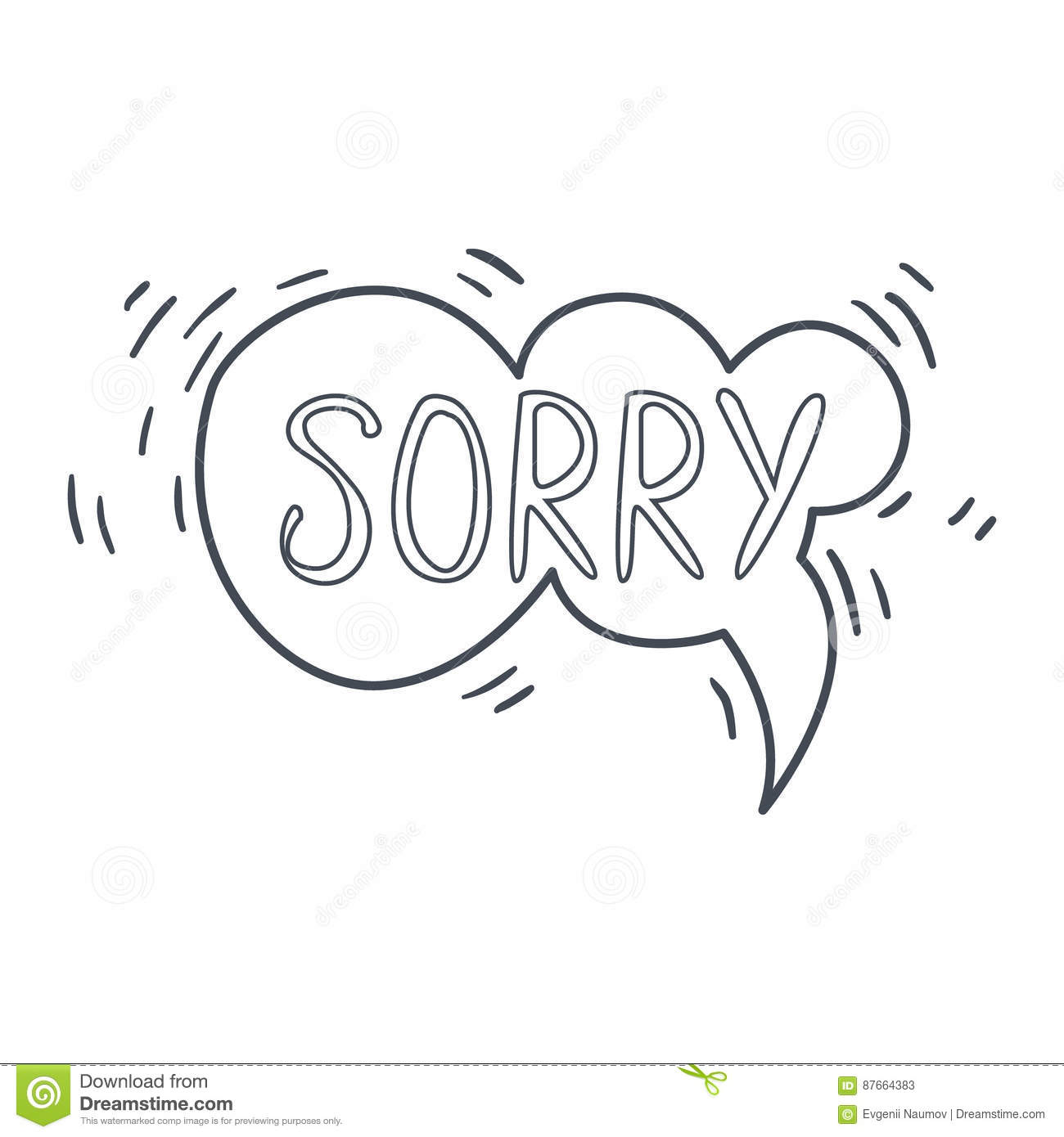 Word Sorry Hand Drawn Comic Speech Bubble Template Isolated Black And White Hand Drawn Clipart