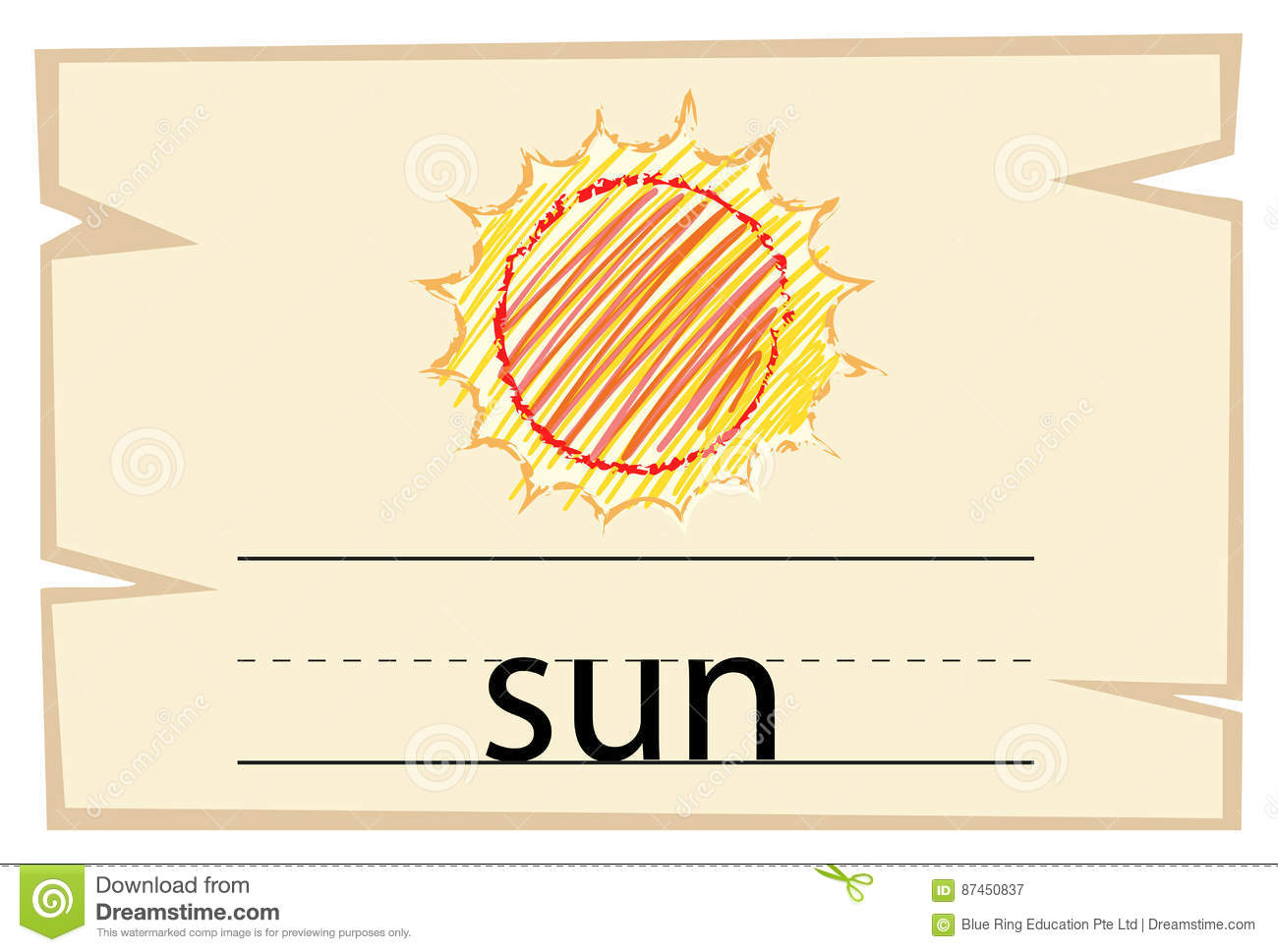 Wordcard Template For Word Sun Stock Illustration