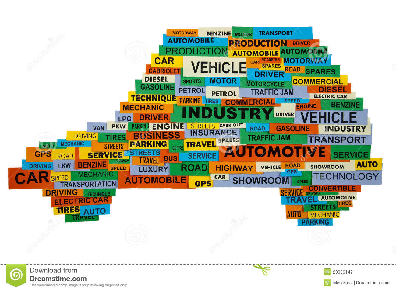 Words Describing The Automotive Industry Stock Image