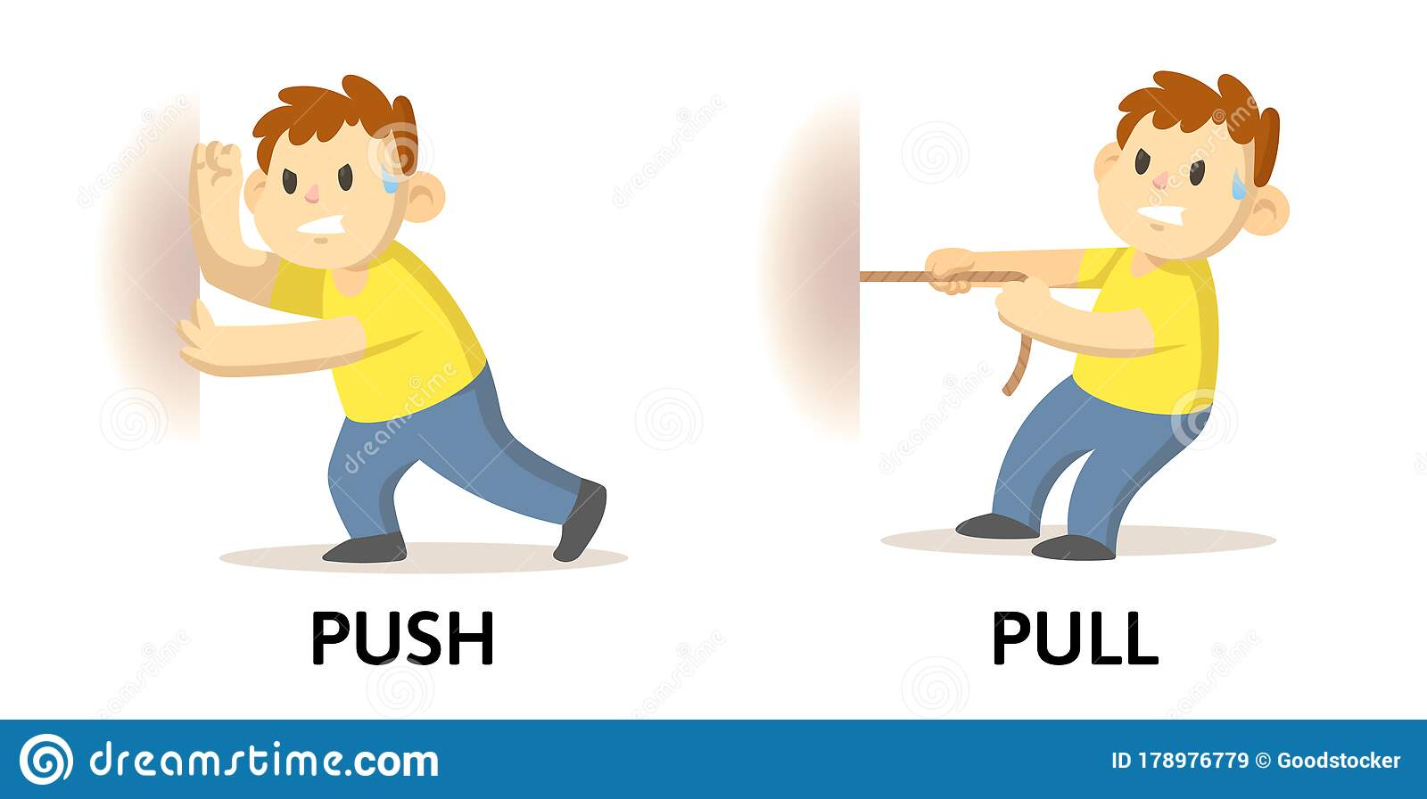 Words Push And Pull Flashcard With Cartoon Characters