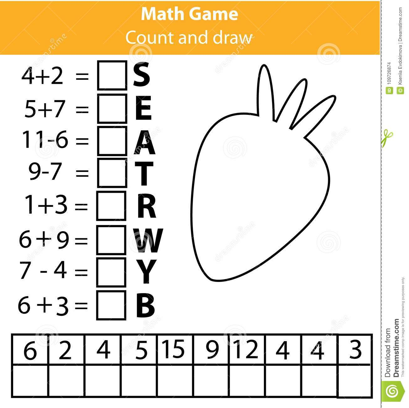 Words Puzzle Children Educational Game With Mathematics Equations Counting And Letters Game