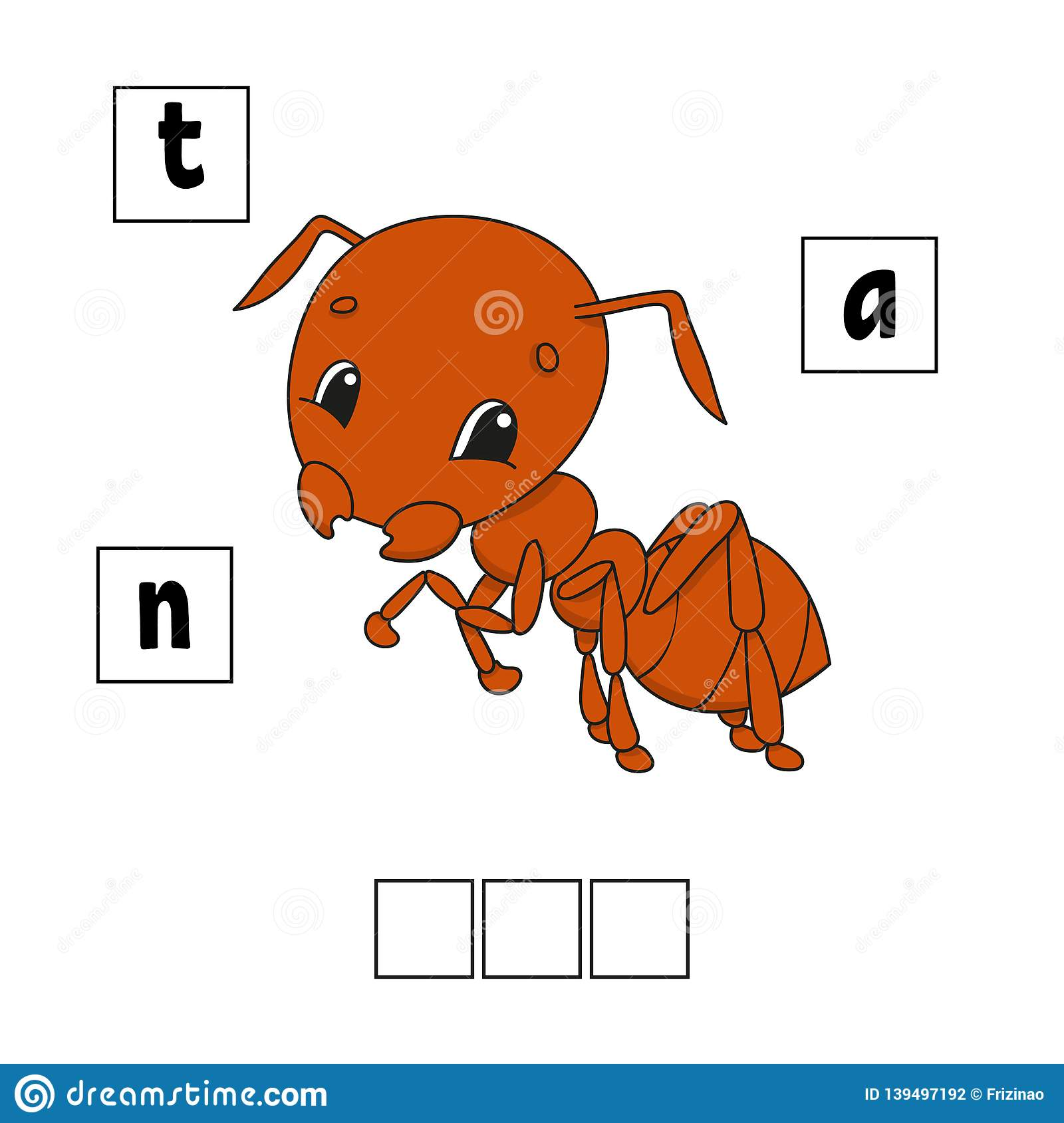Brown Ant Words Puzzle Education Developing Worksheet