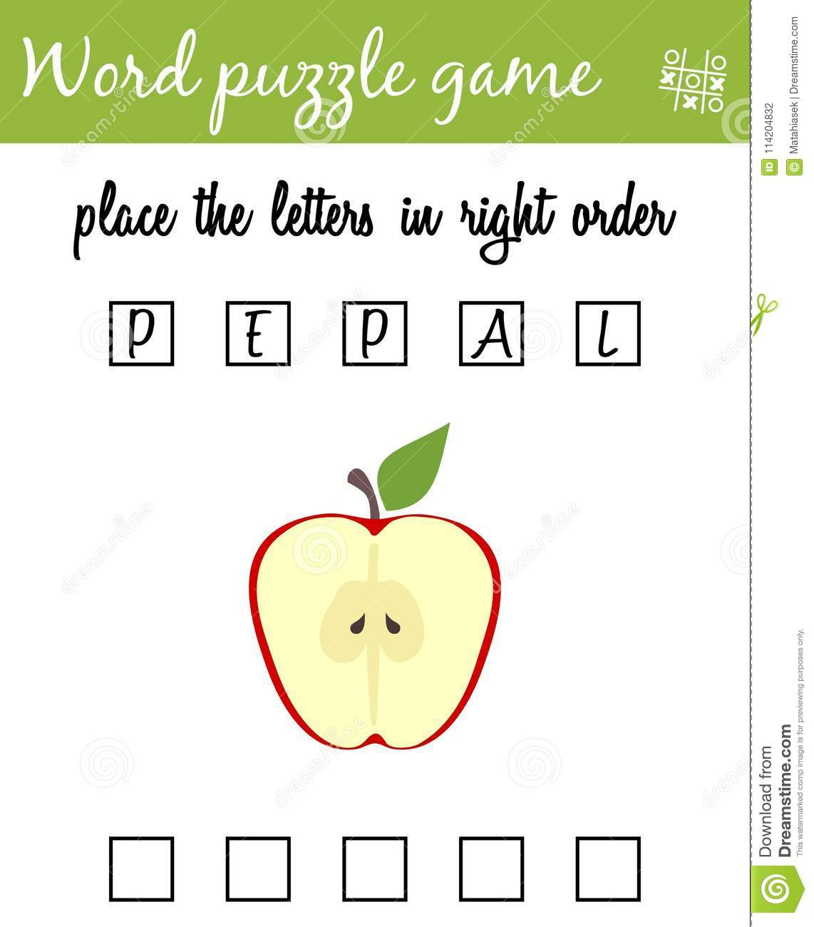 Words Puzzle Game With Apple Place The Letters In Right