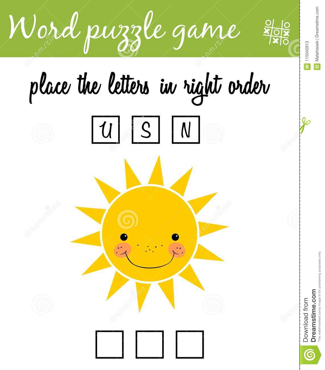 Words Puzzle Game With Cartoon Sun Place The Letters In