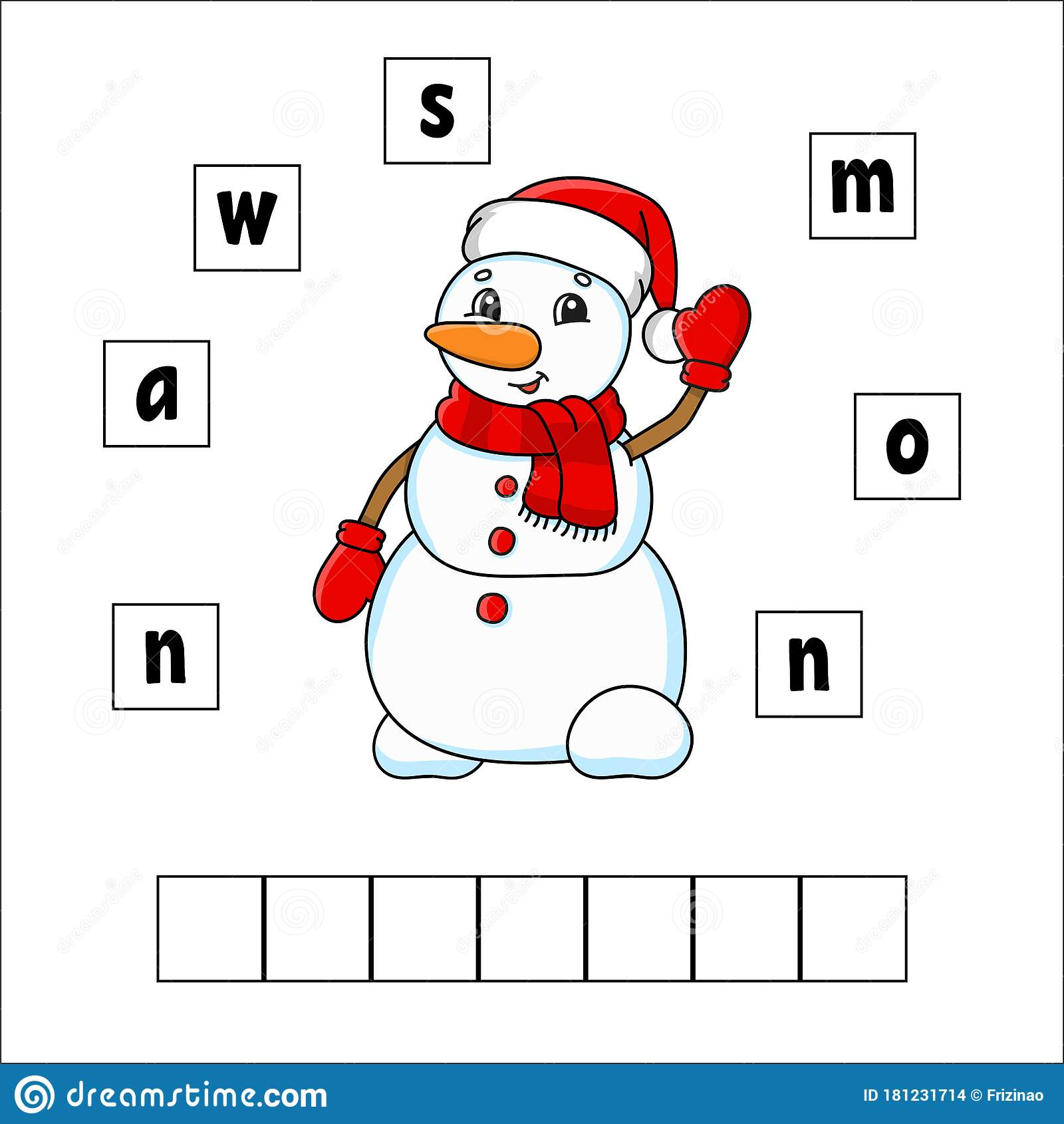 Words Puzzle Snowman Education Developing Worksheet