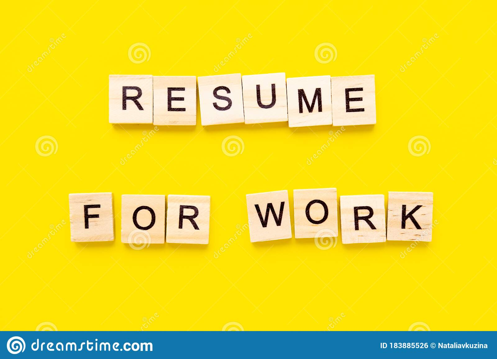 Stay informed every day with yahoo finance's free fully briefed newsletter. Words Resume For Work Wooden Blocks With Lettering On Top Of Yellow Background Human Resource Management And Stock Photo Image Of Communication Announcement 183885526