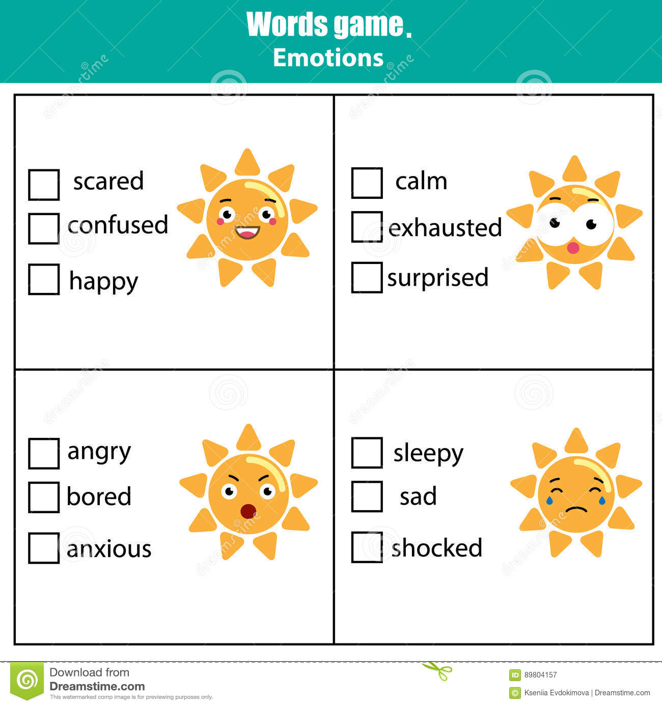 Words Test Educational Game For Children Emotions Theme