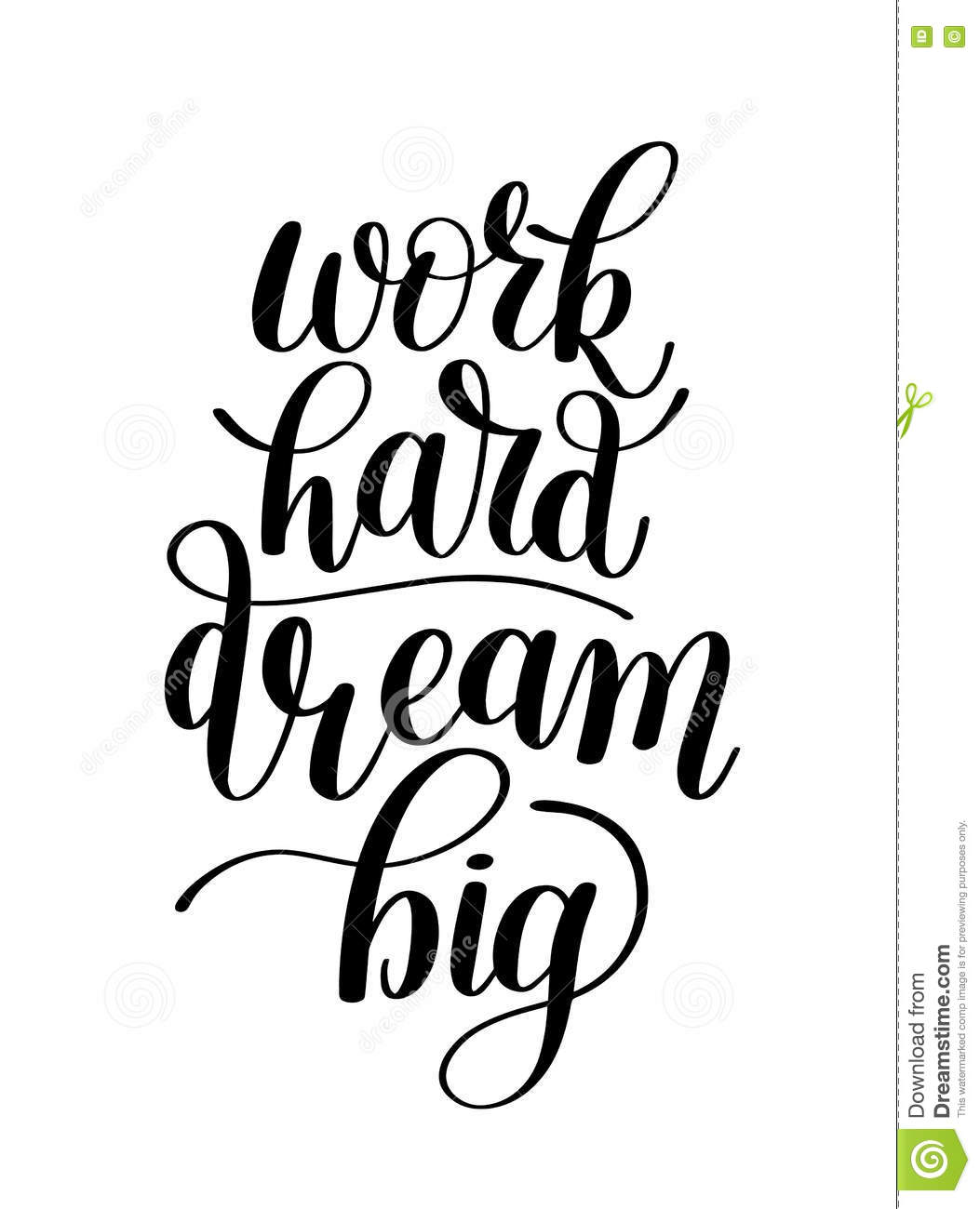 Work Hard Dream Big Word Expression Quote Illustration