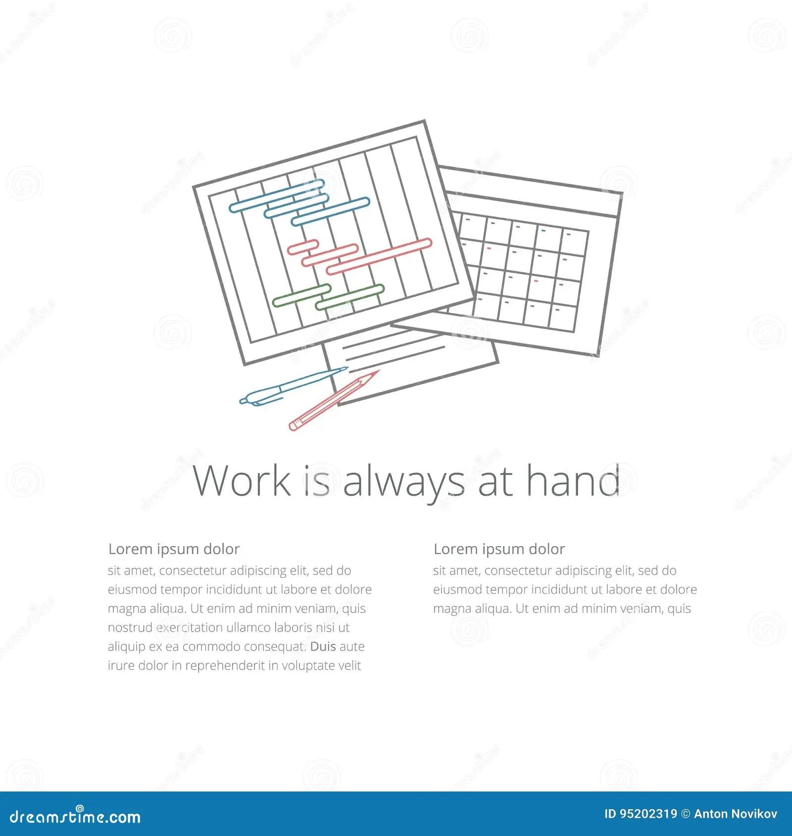 Workdesk Illustration 01 Ganntchart And Calendar Stock Vector