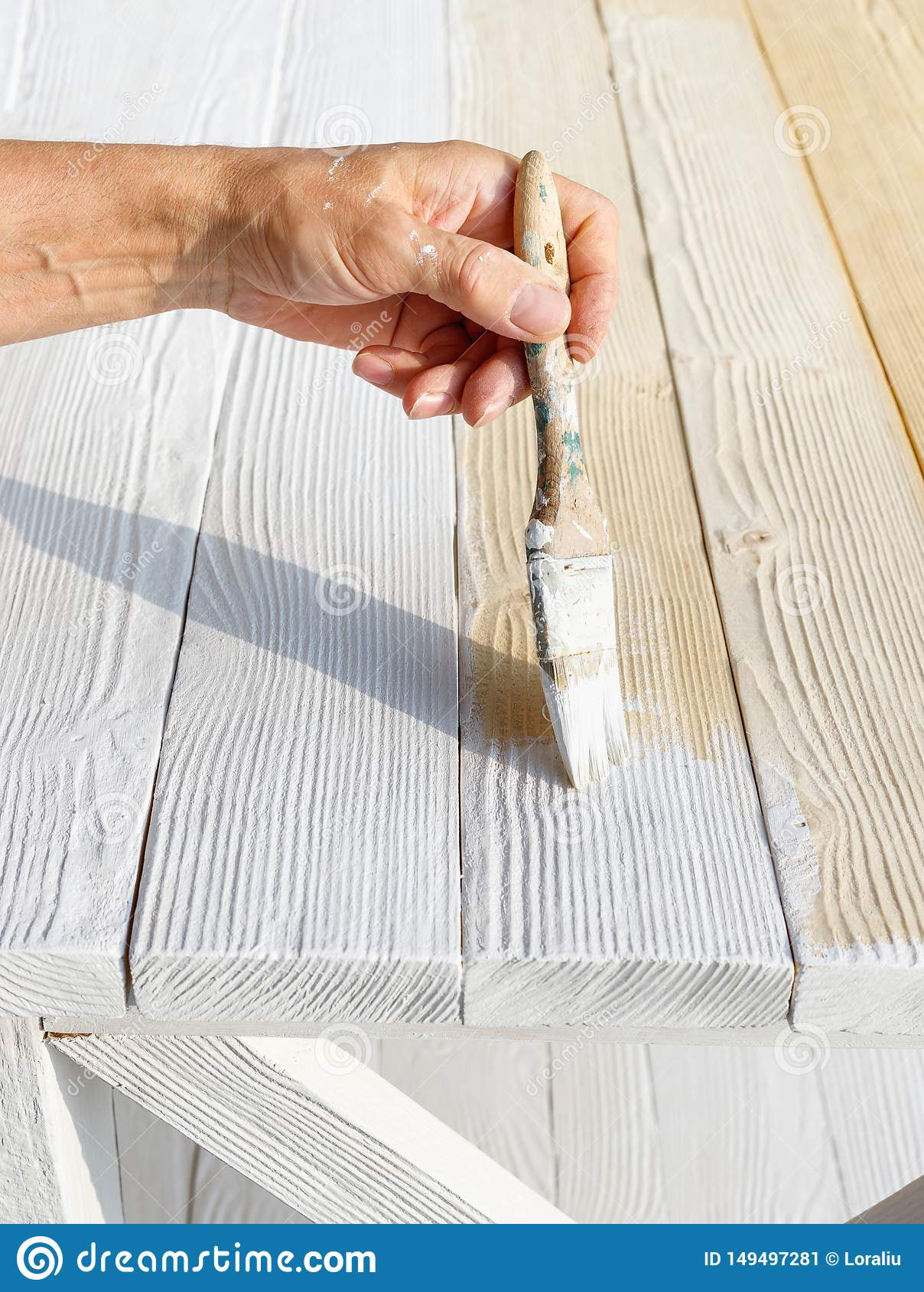 Worker Painting White Wooden Furniture Outdoor Stock Image Image Of Construction Design 149497281